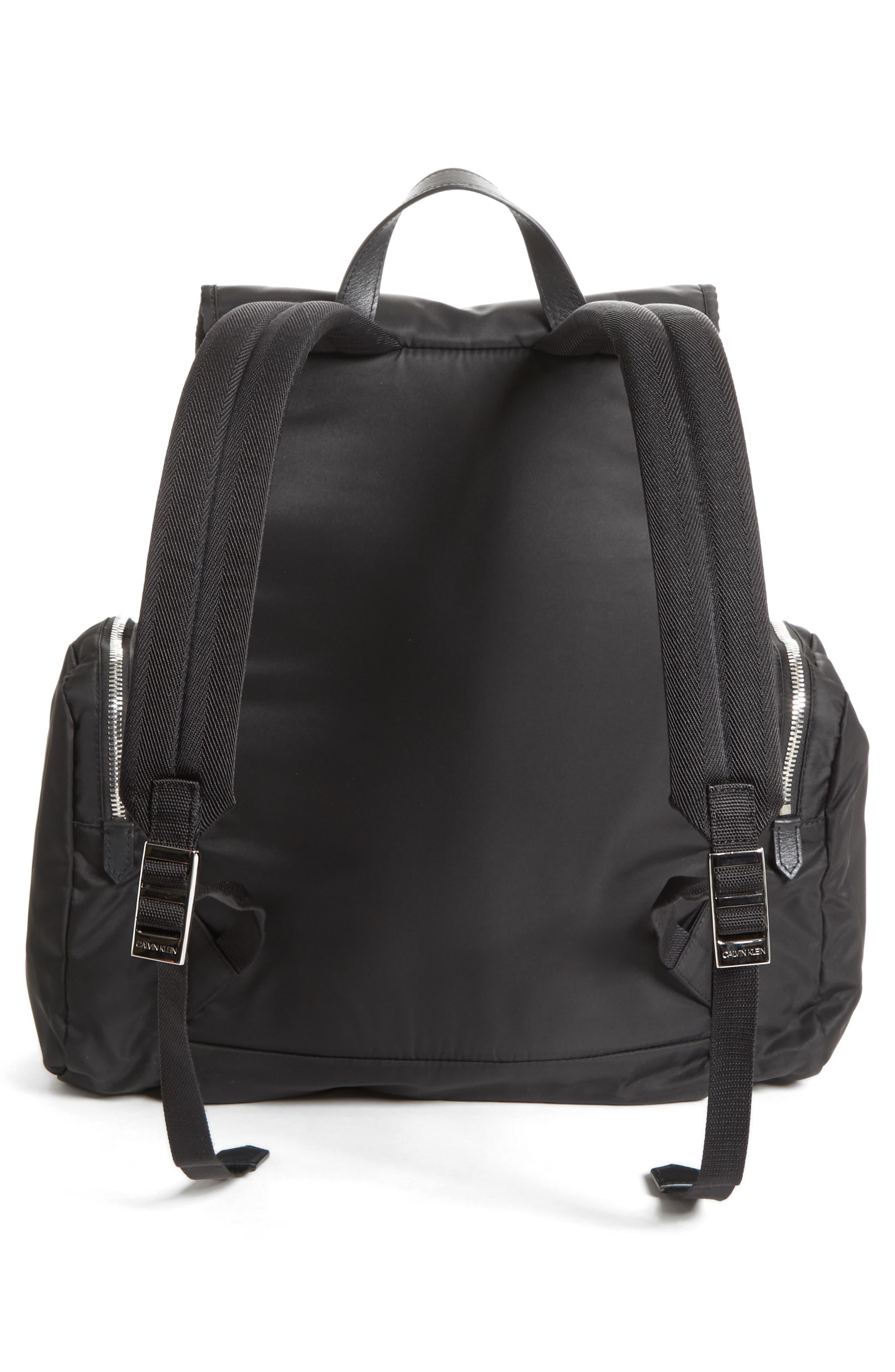 Nylon Flap Backpack,                             Alternate thumbnail 3, color,                             BLACK