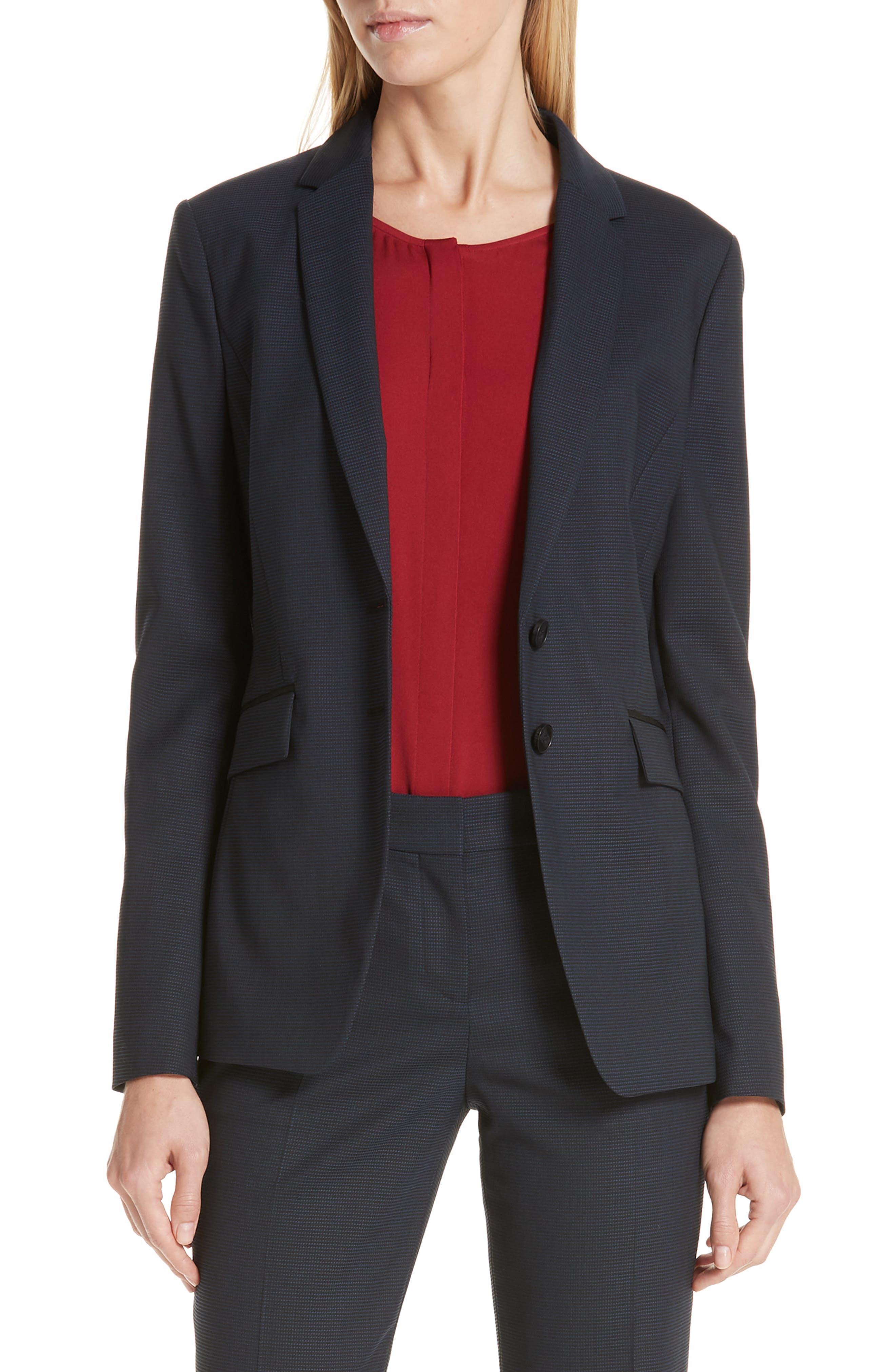 BOSS Jabahana Tonal Minidessin 2B Virgin Wool Suiting Jacket in Dark Navy Fantasy