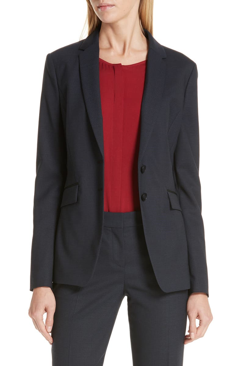 Jeriba Minidessin Stretch Wool Suit Jacket, Main, color, DARK NAVY FANTASY