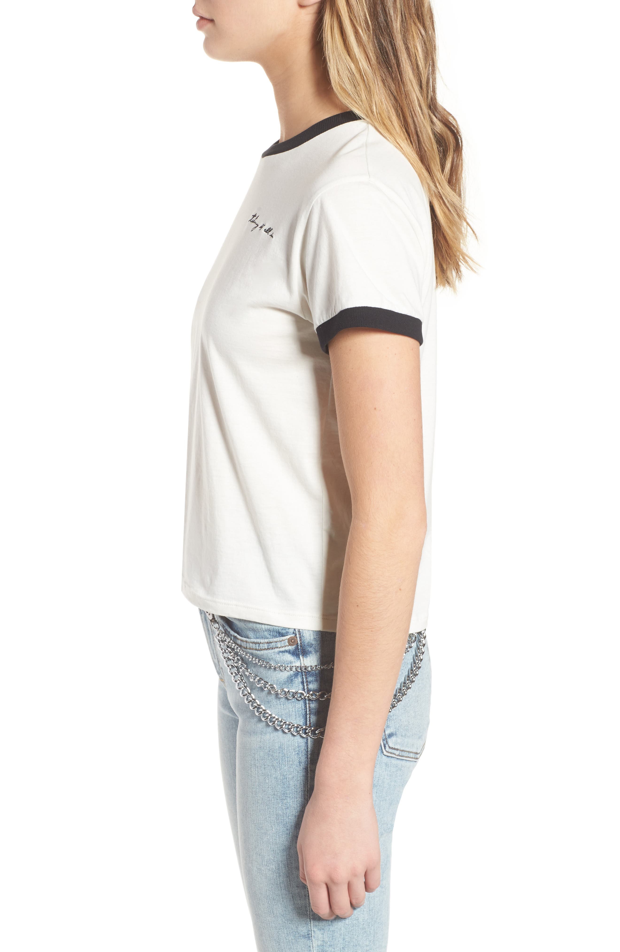 Embroidered Ringer Tee,                             Alternate thumbnail 3, color,                             100