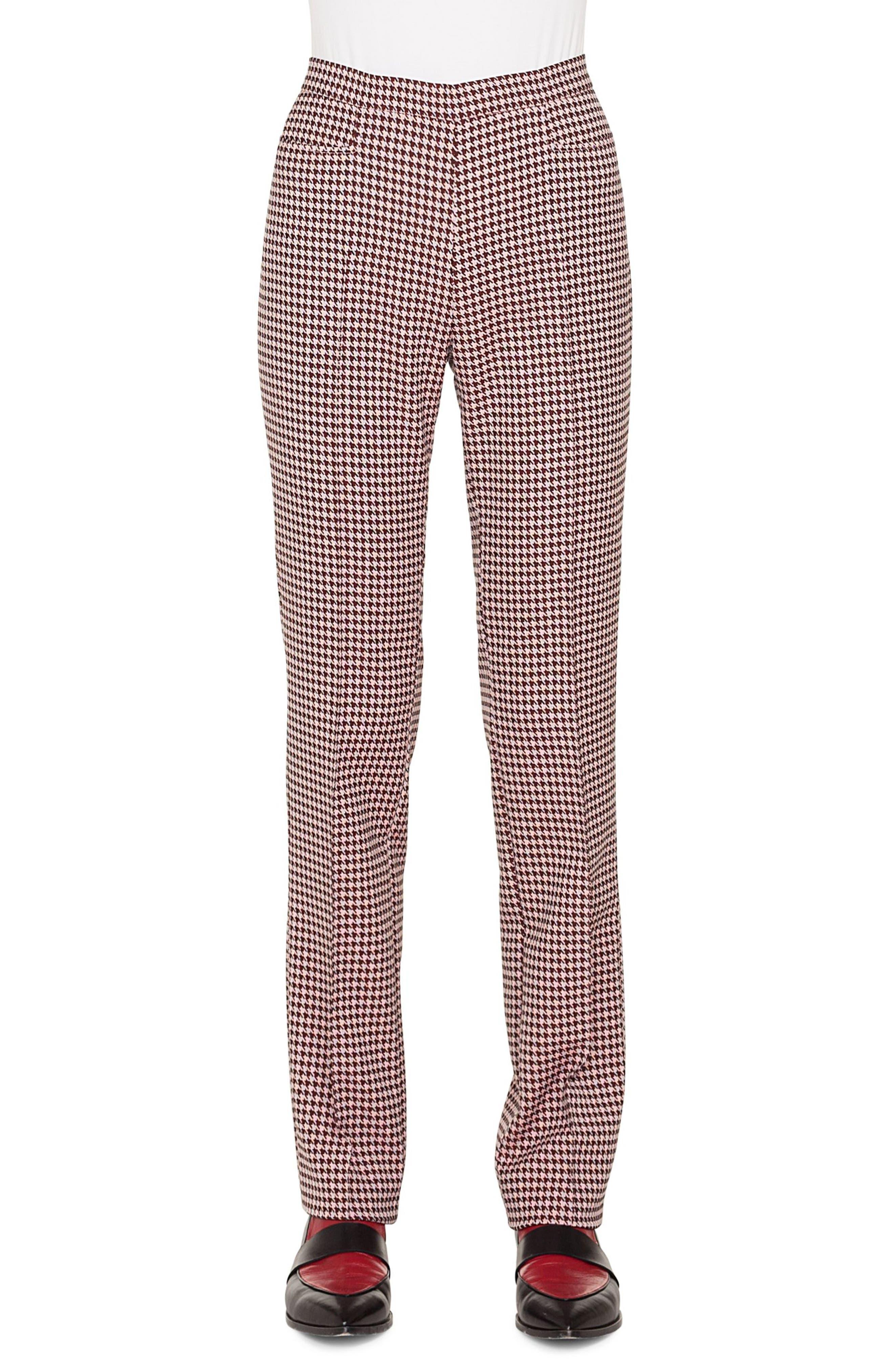AKRIS PUNTO,                             Francoise Houndstooth Jersey Pants,                             Main thumbnail 1, color,                             930