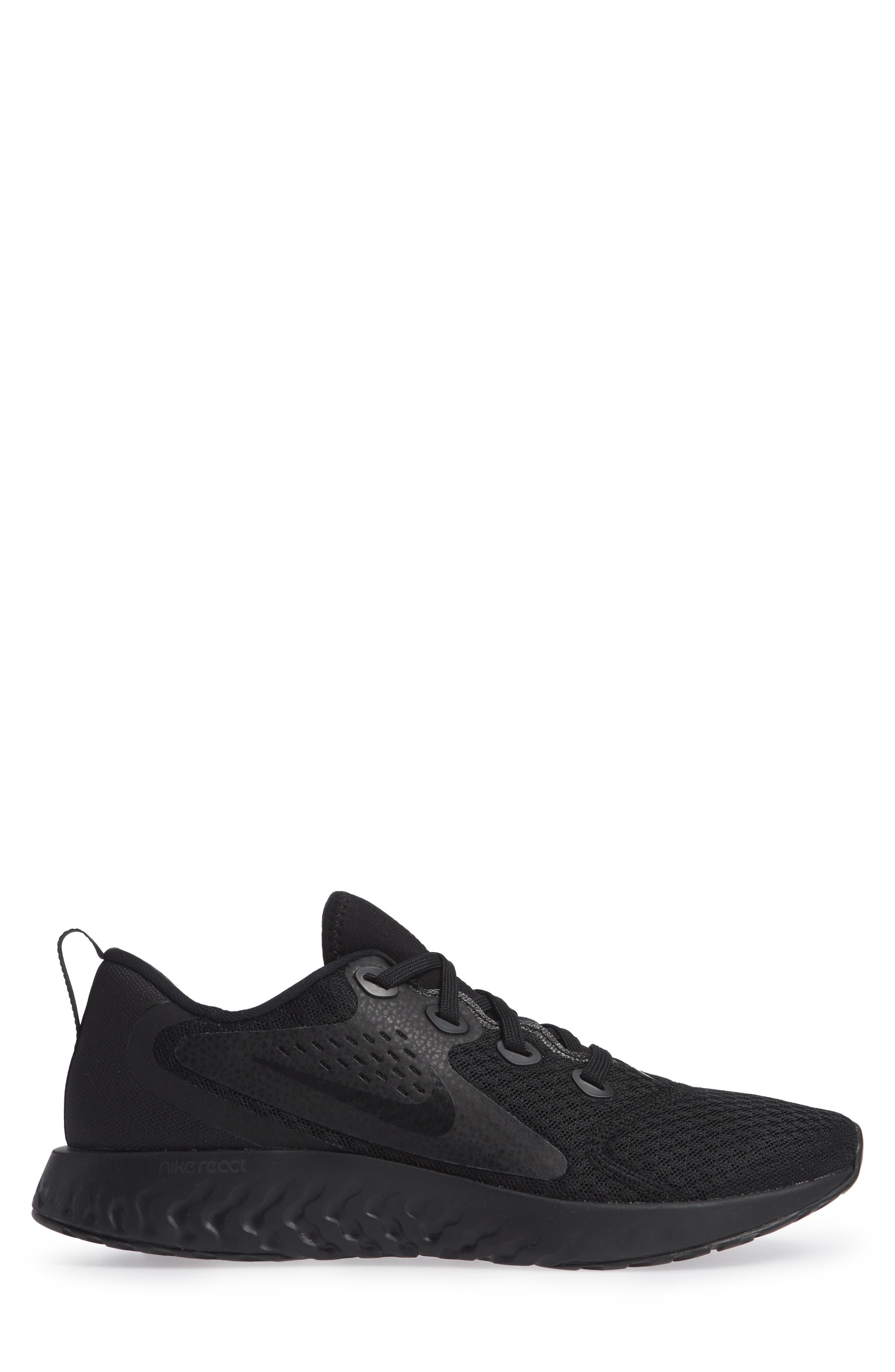 Rebel React Sneaker,                             Alternate thumbnail 3, color,                             BLACK/ BLACK