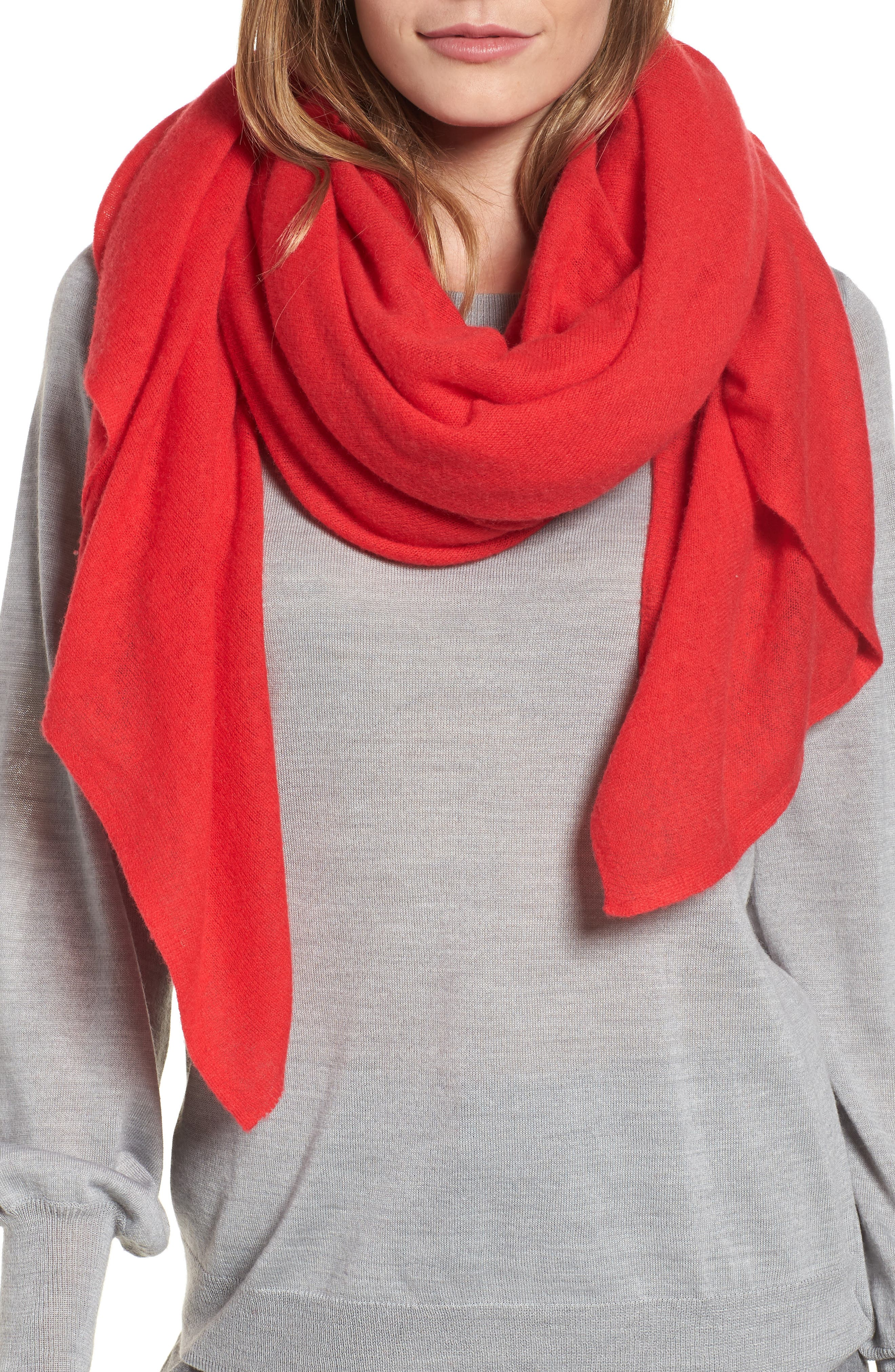 Cashmere Scarf,                         Main,                         color, RED CHINOISE
