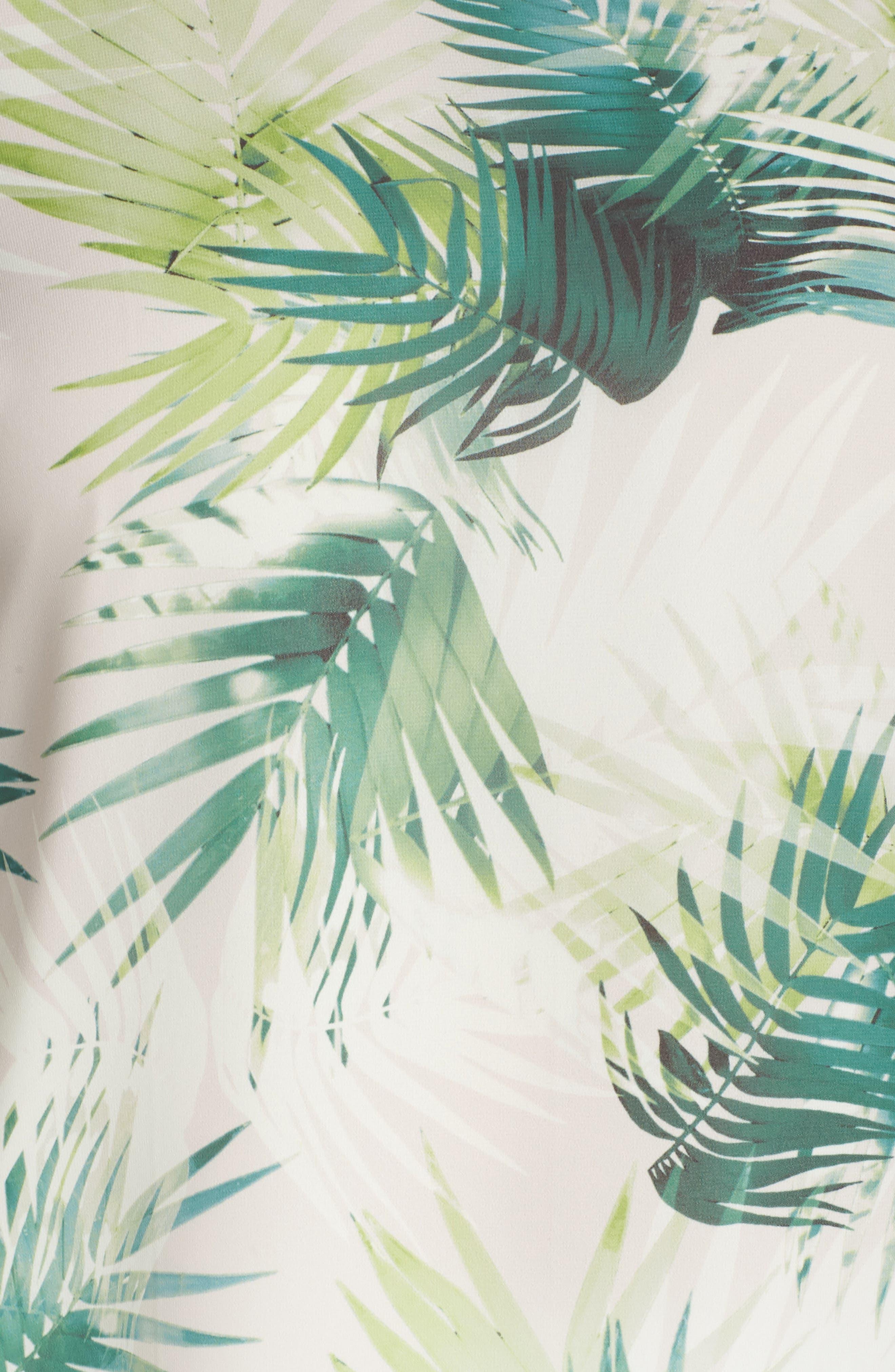 Drawstring Sleeve Sunlit Palm Print Top,                             Alternate thumbnail 6, color,                             336