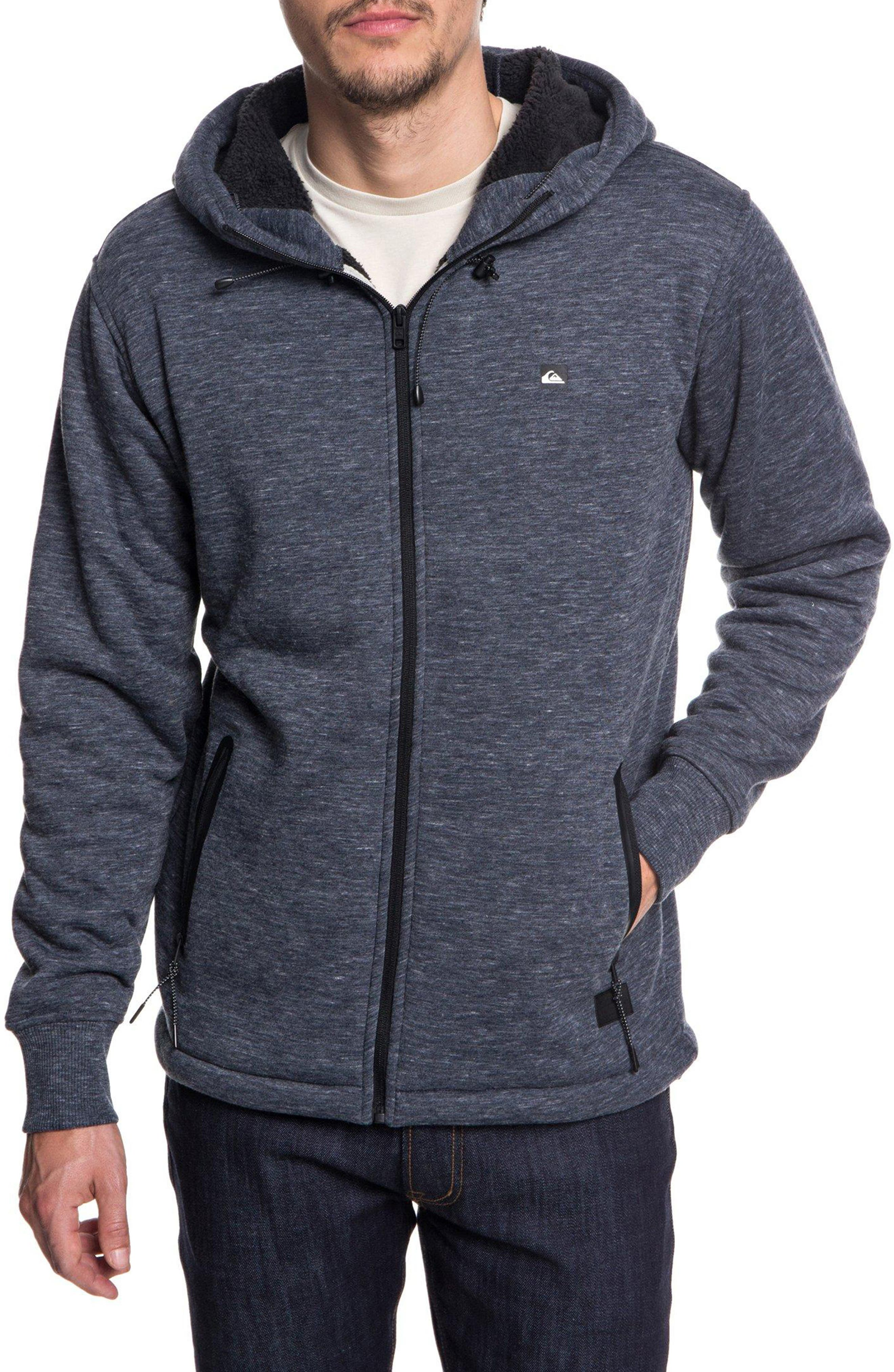 Kurow Fleece Hooded Jacket,                             Main thumbnail 1, color,                             BLUE NIGHTS HEATHER