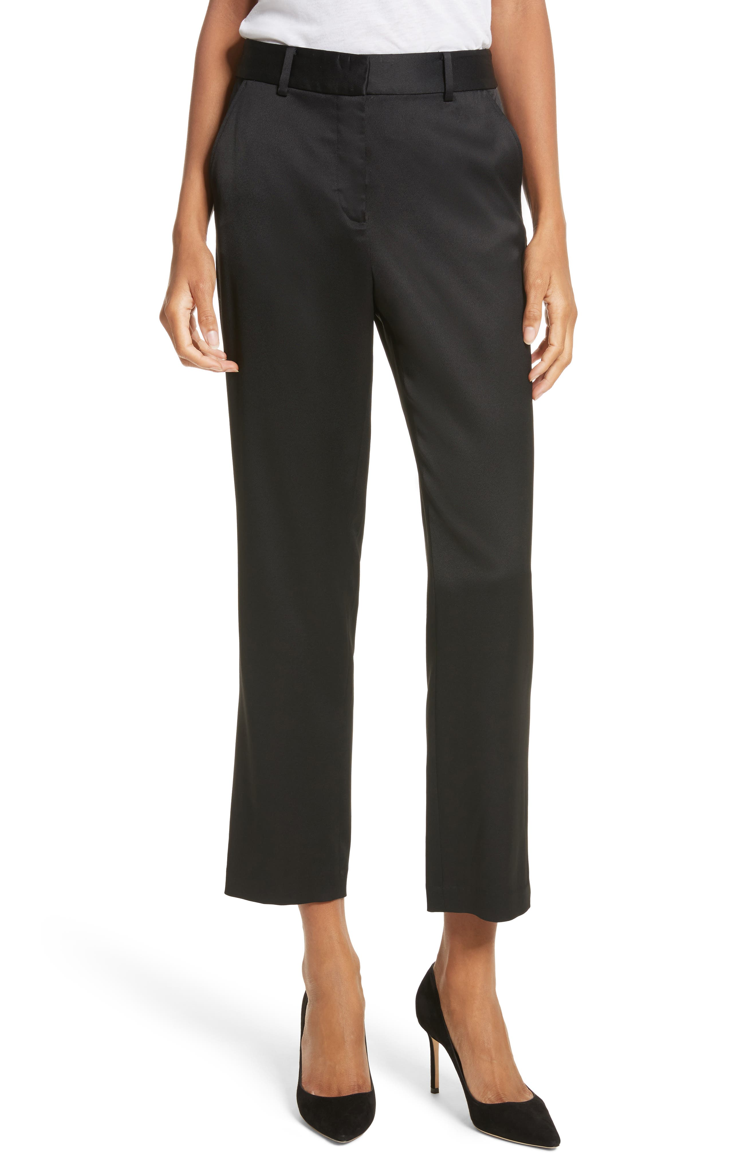Ankle Straight Leg Trousers,                             Main thumbnail 1, color,                             001