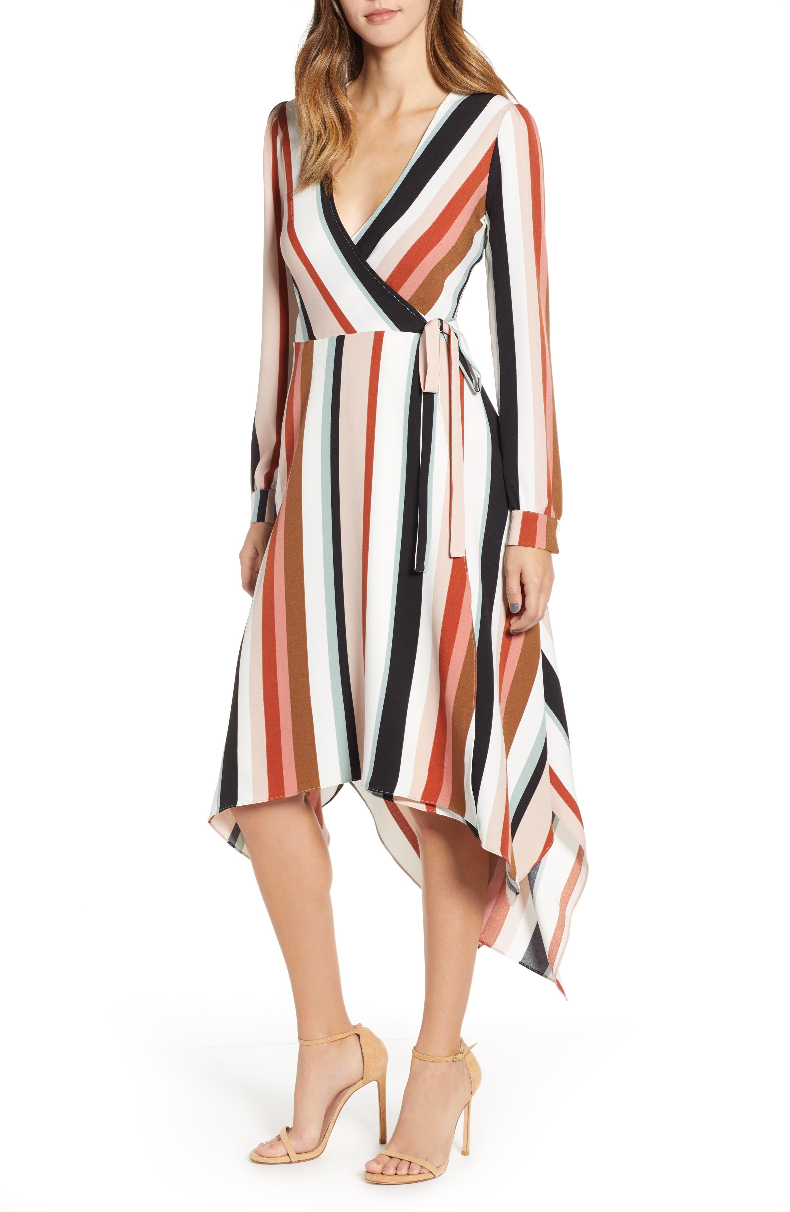 Sharkbite Hem Wrap Dress,                         Main,                         color, IVORY FALL STRIPE