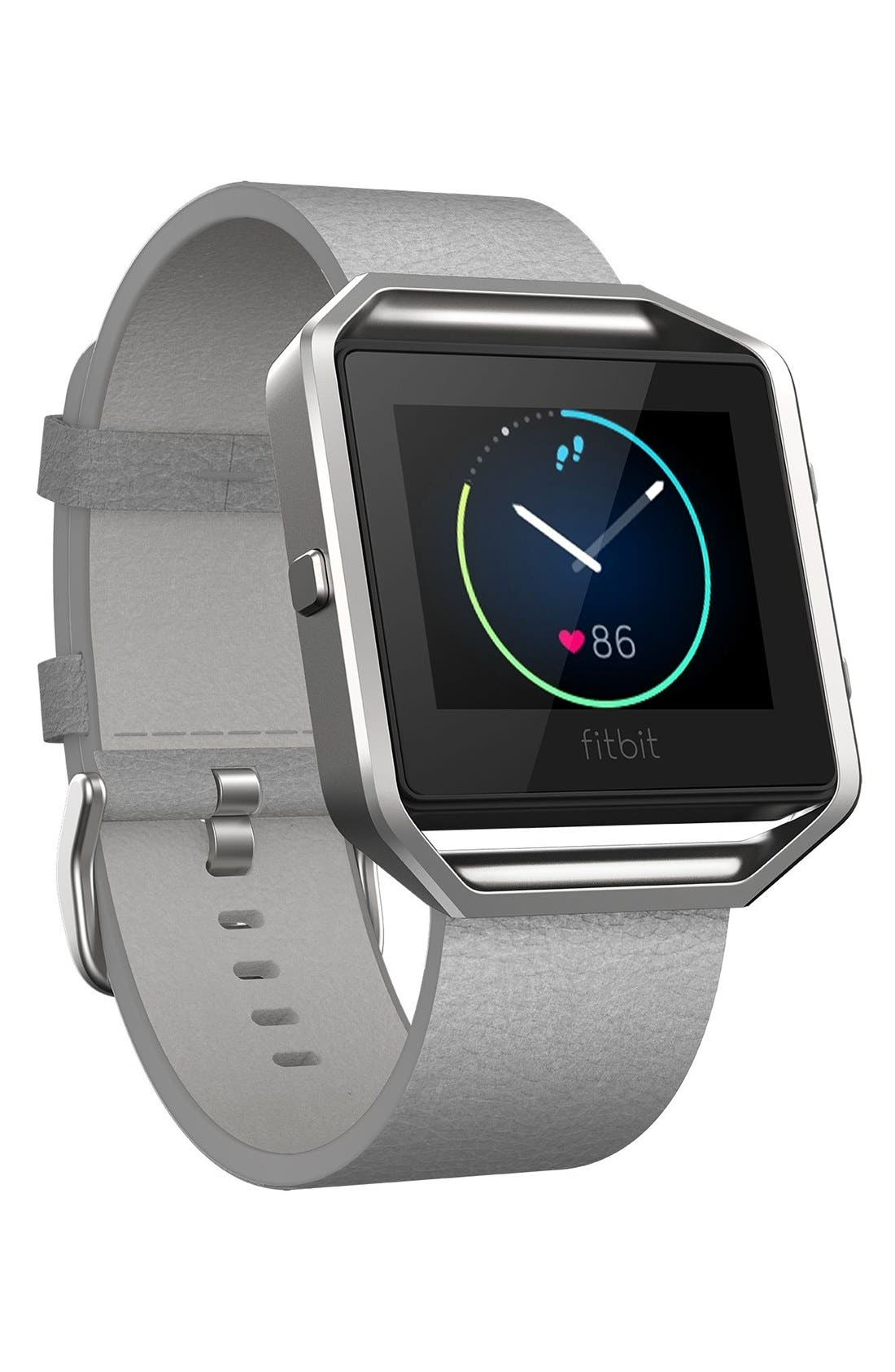 Blaze Leather Smart Watch Band,                             Alternate thumbnail 2, color,                             MIST GREY