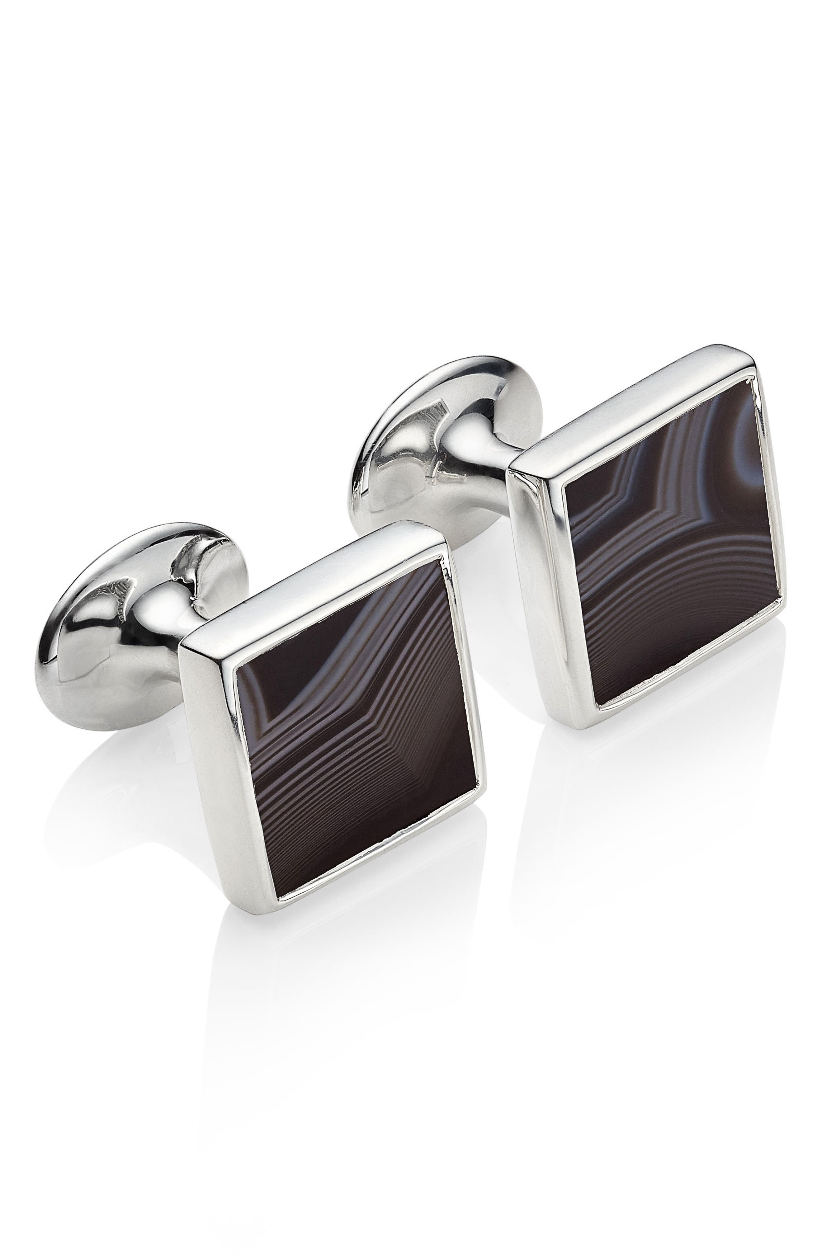 Alta Black Onyx Square Cuff Links,                             Main thumbnail 1, color,                             040