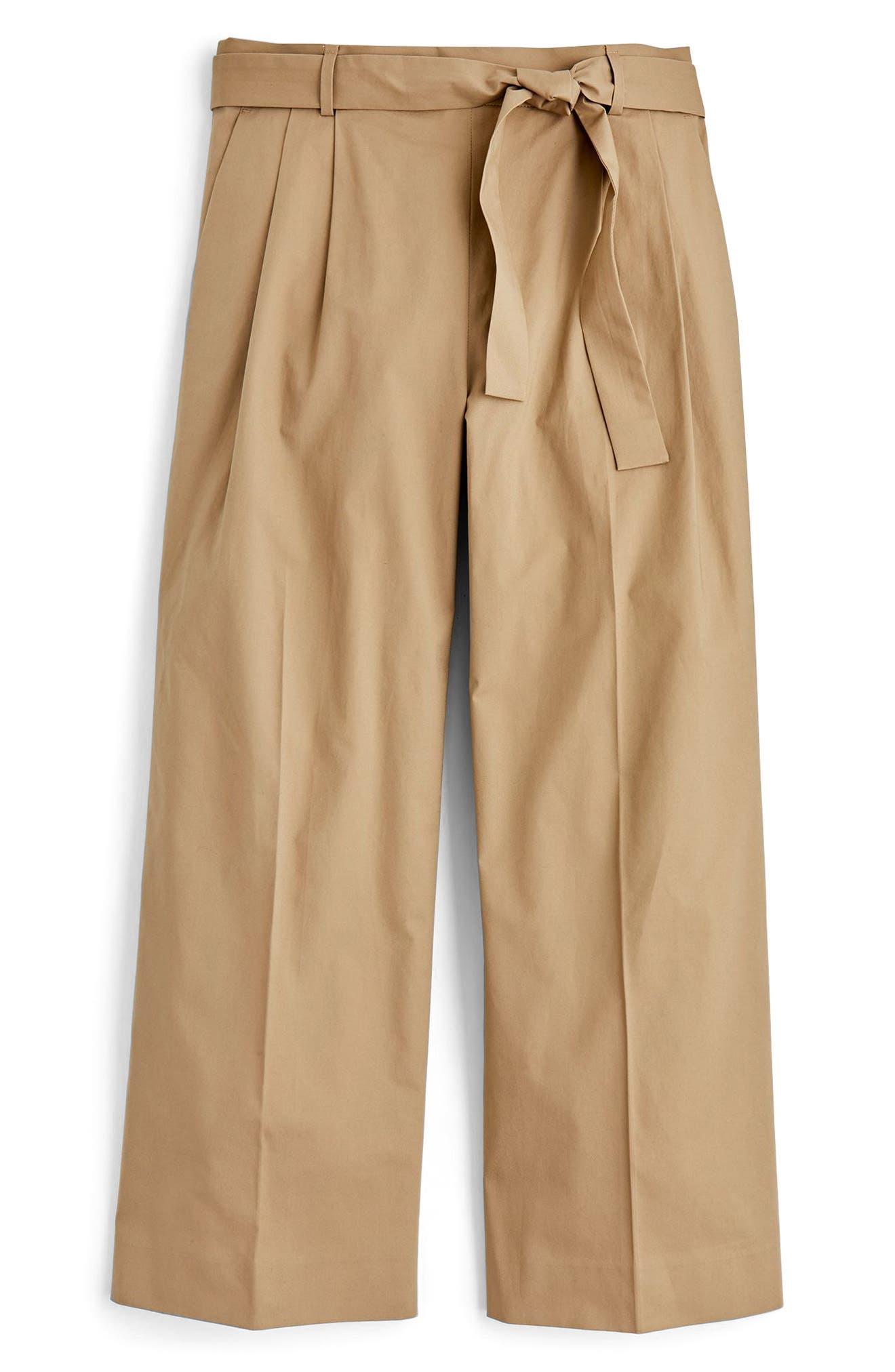 Wide Leg Stretch Cotton Poplin Crop Pants,                             Alternate thumbnail 4, color,