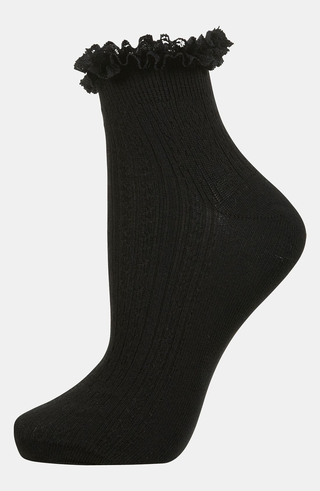 Lace Trim Ankle Socks,                         Main,                         color, 001