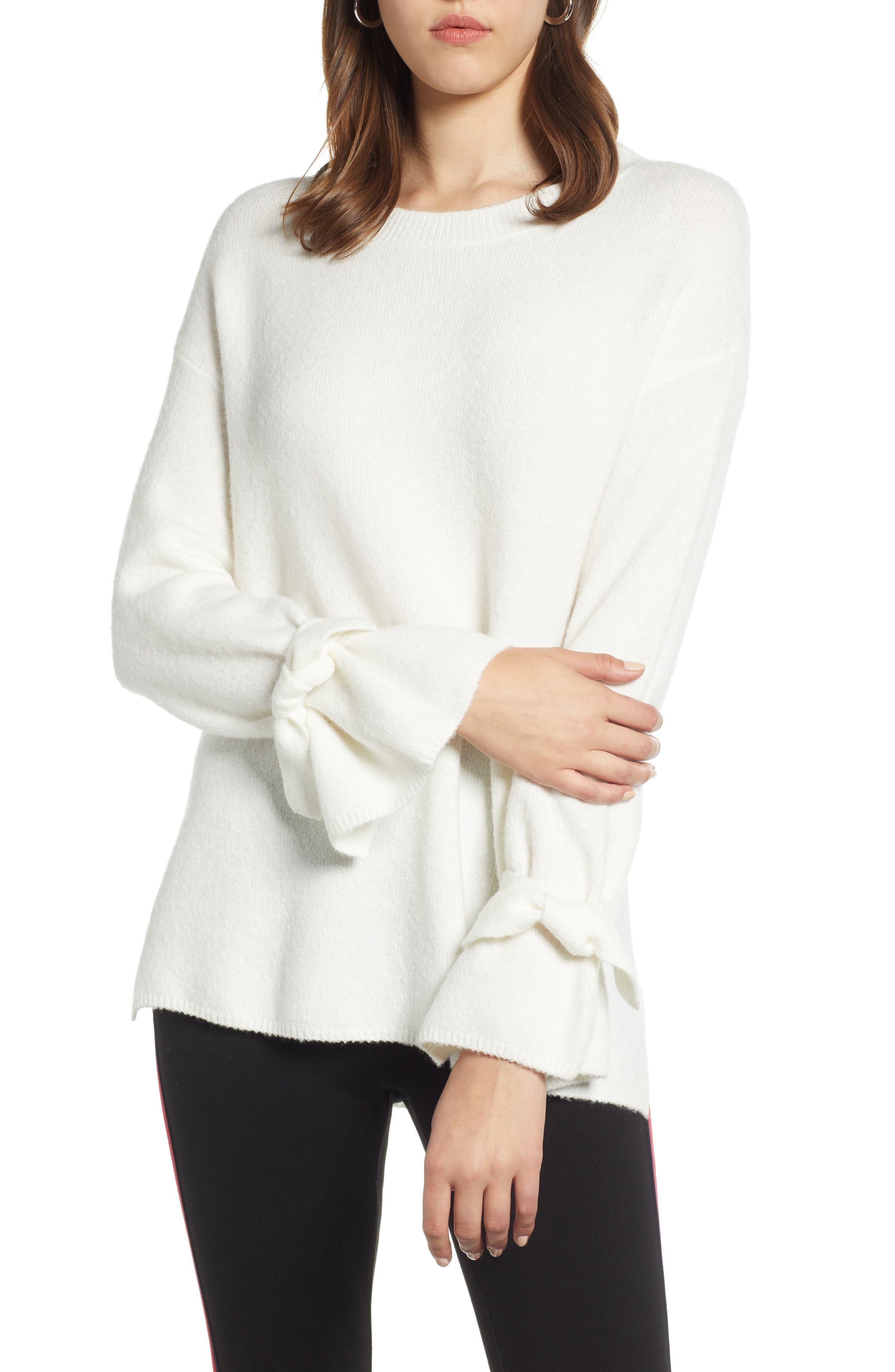 Halogen Tie Sleeve Wool Blend Sweater, Ivory