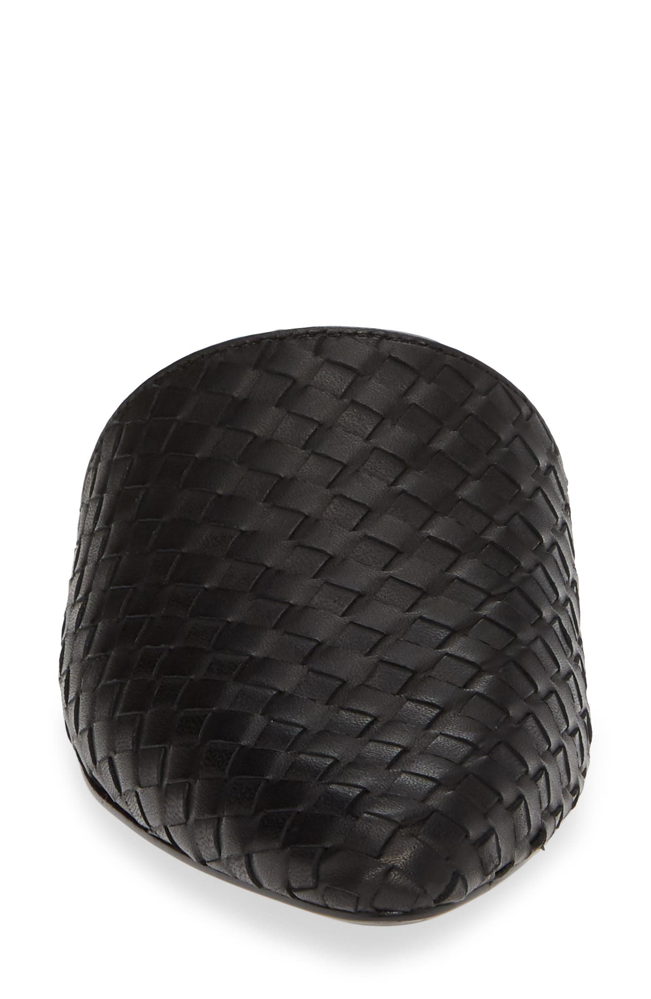 Timid Woven Mule,                             Alternate thumbnail 4, color,                             BLACK LEATHER