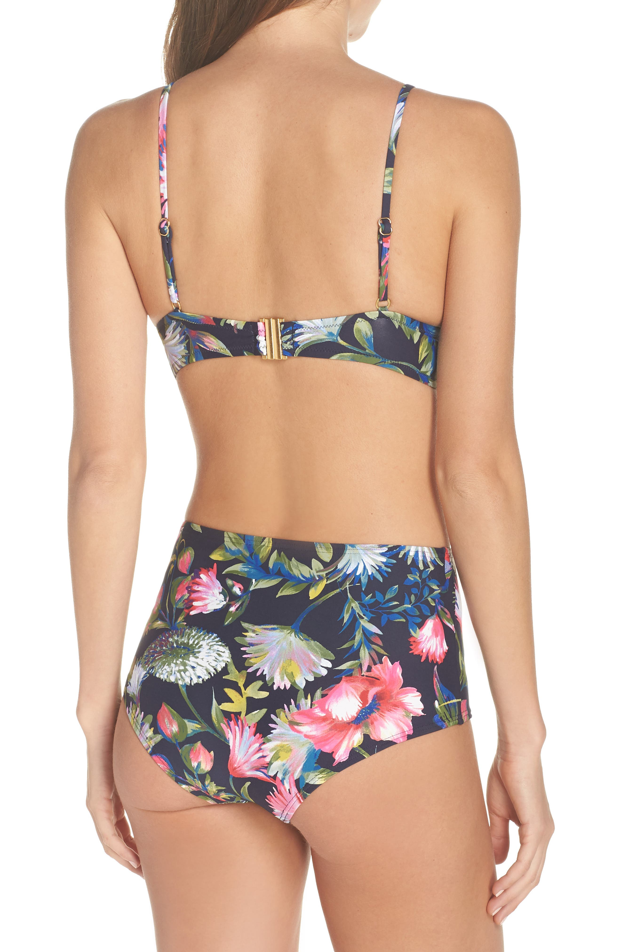 Floral Seamless High Waist Bikini Bottoms,                             Alternate thumbnail 8, color,                             NAVY