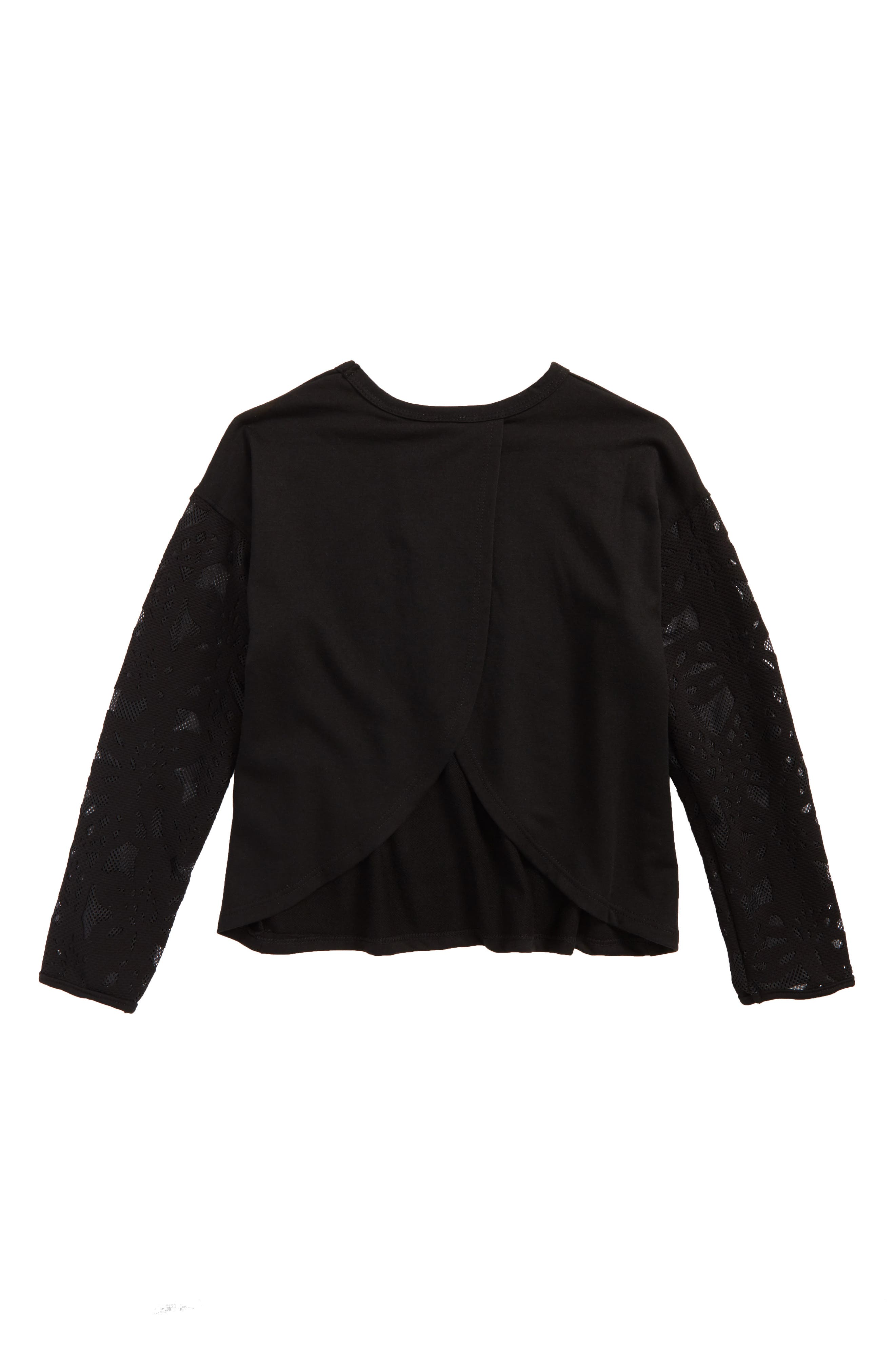 Contrast Sleeve Sweatshirt,                             Alternate thumbnail 2, color,                             001