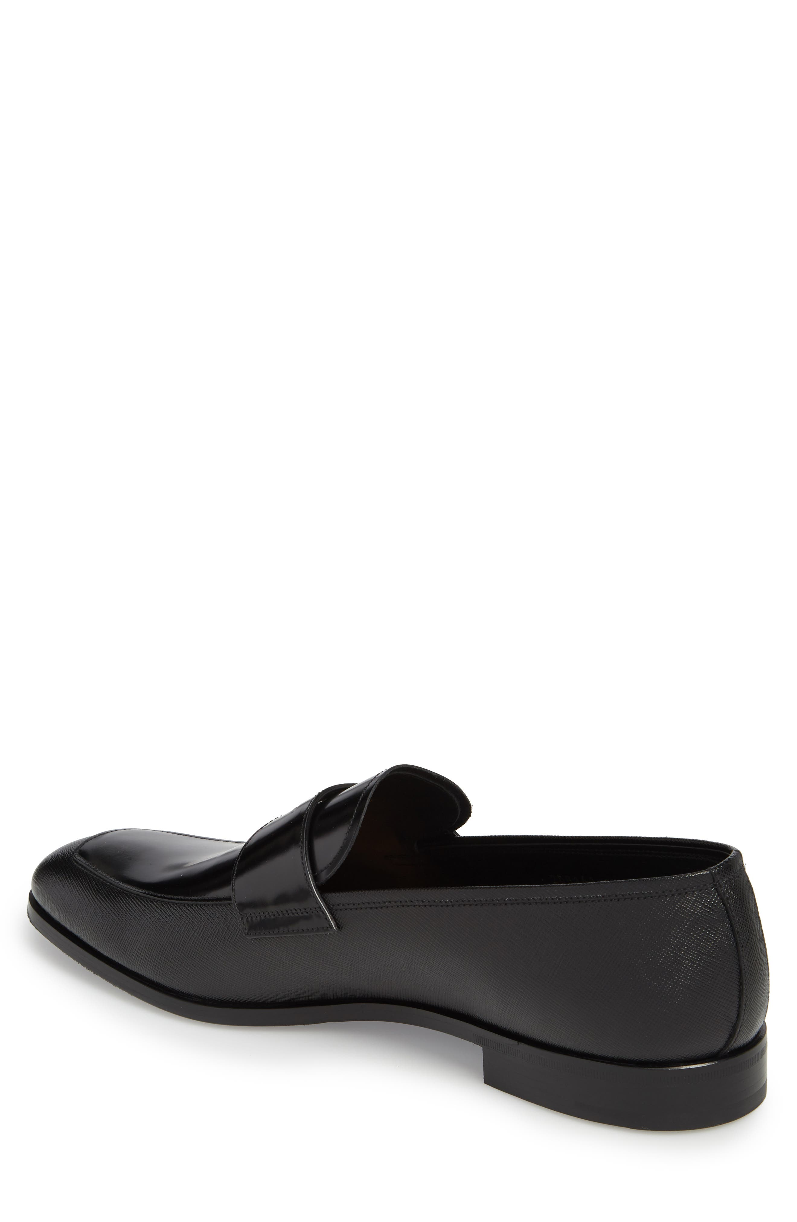 Saffiano Leather Penny Loafer,                             Alternate thumbnail 2, color,                             NERO
