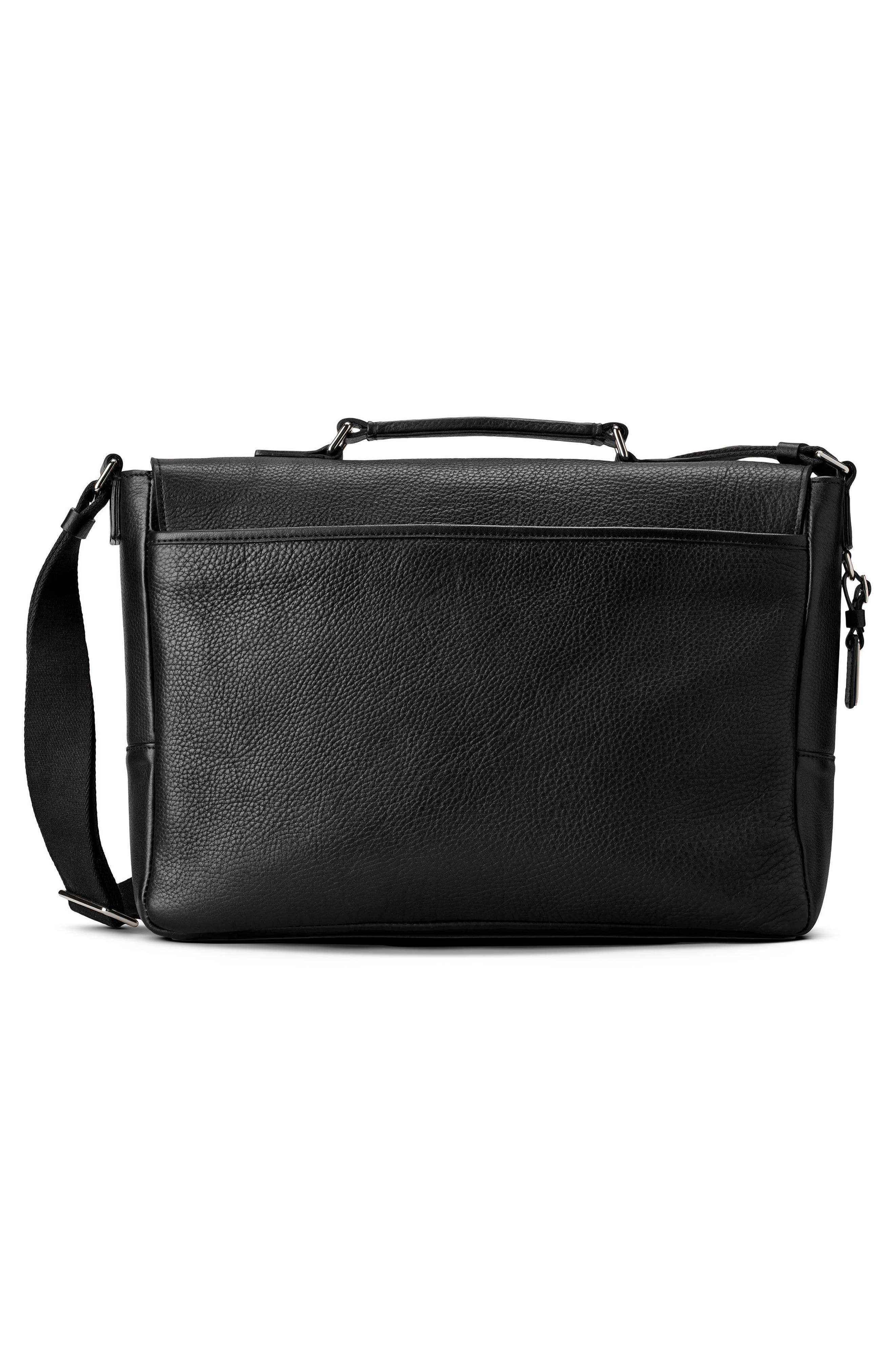 Leather Messenger Bag,                             Alternate thumbnail 2, color,                             BLACK