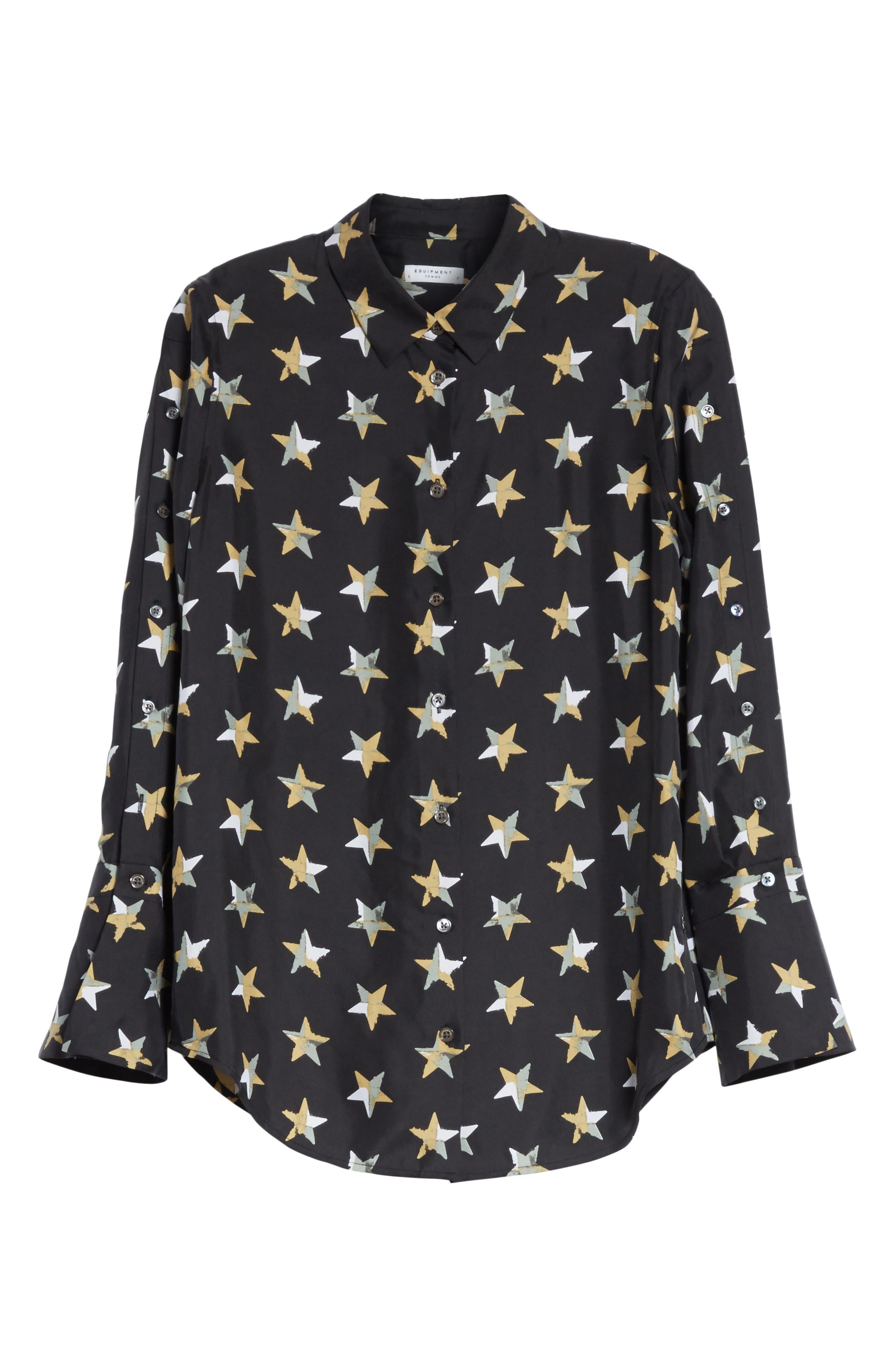 Rossi Button Detail Star Print Silk Shirt,                             Alternate thumbnail 6, color,                             006