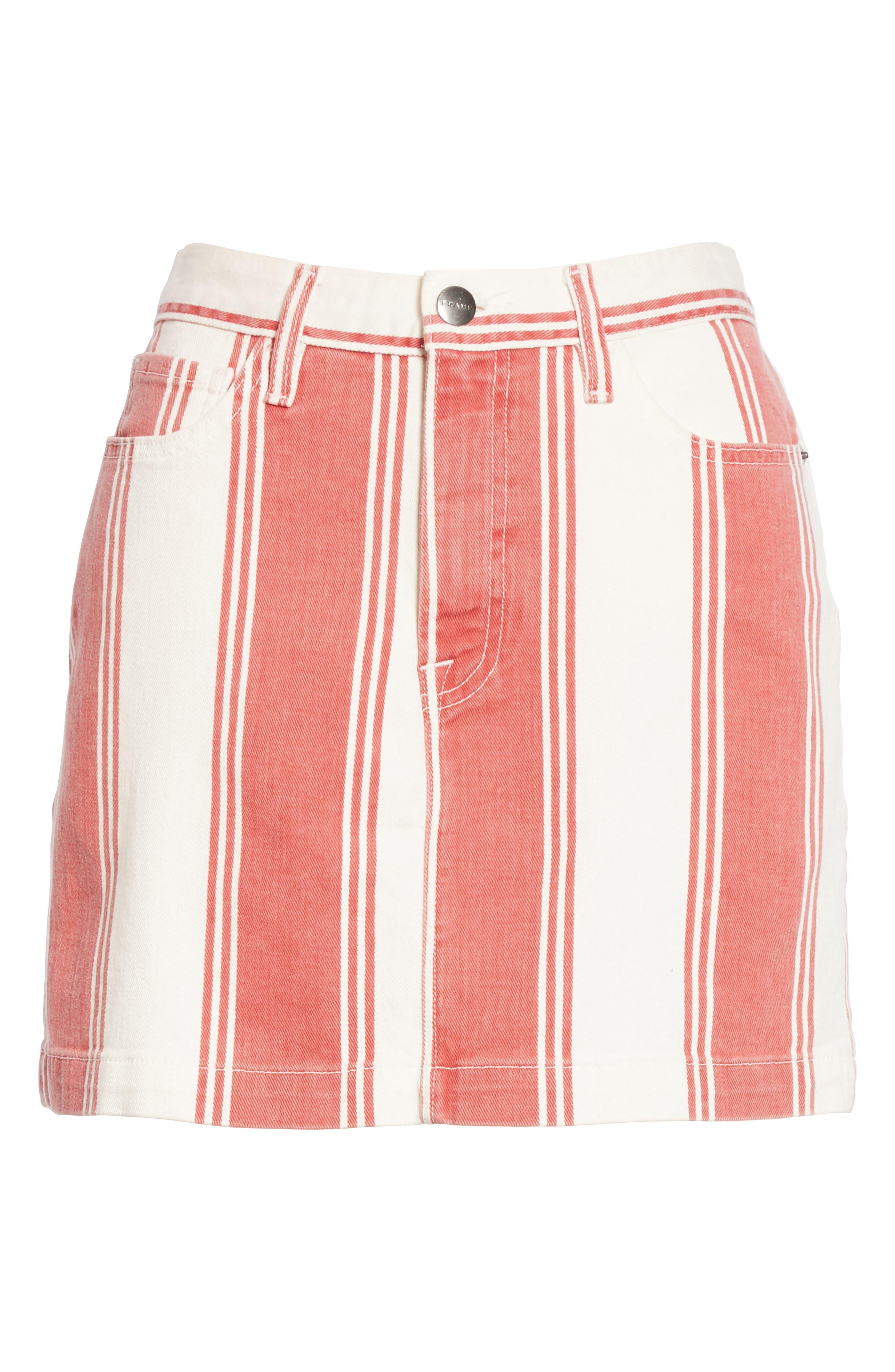 Le Mini Stripe Denim Skirt,                             Alternate thumbnail 6, color,                             FIERY STRIPE