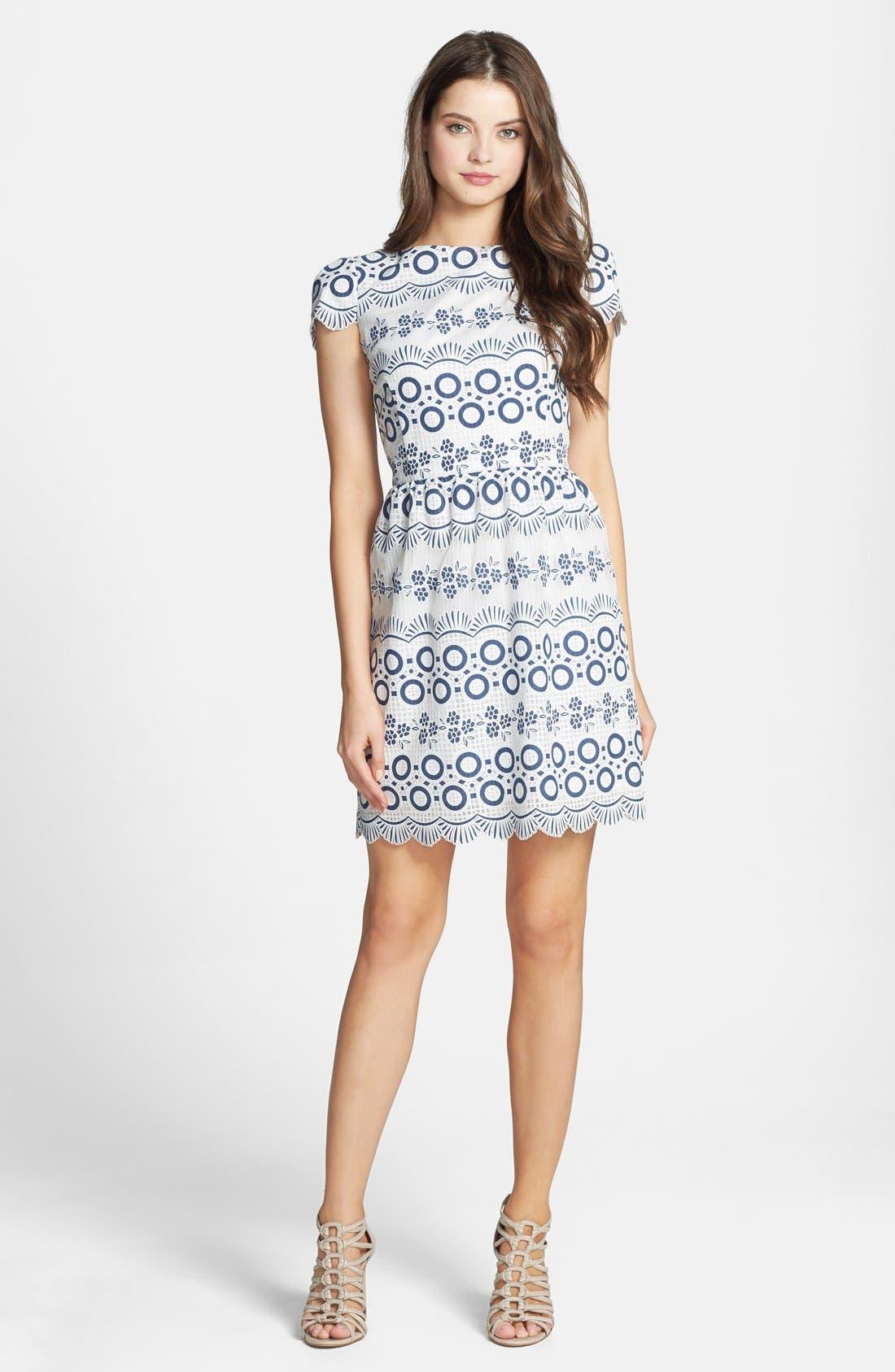 Print Lace Fit & Flare Dress,                             Alternate thumbnail 2, color,                             469