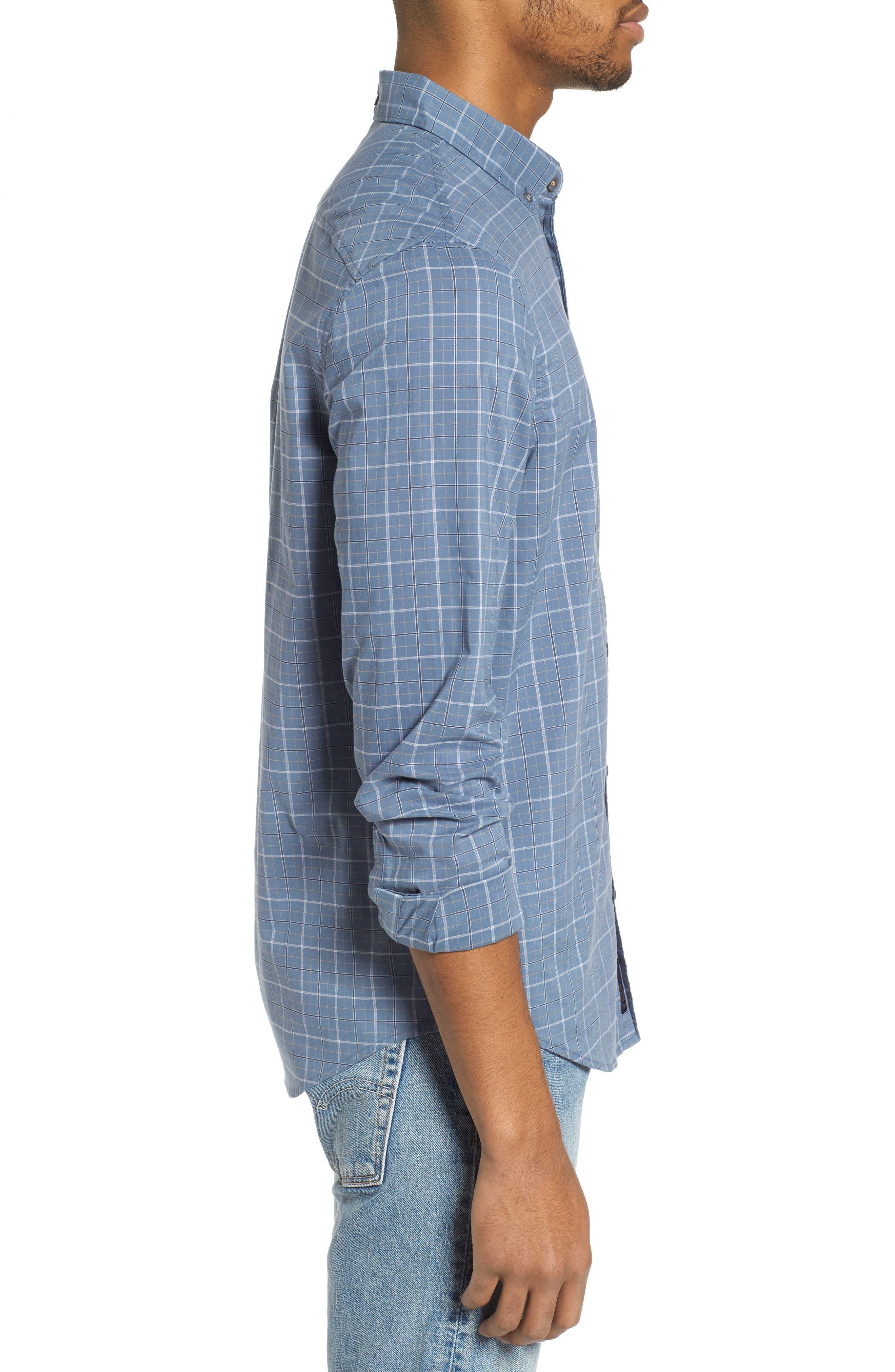 Slim Fit Plaid Woven Shirt,                             Alternate thumbnail 3, color,