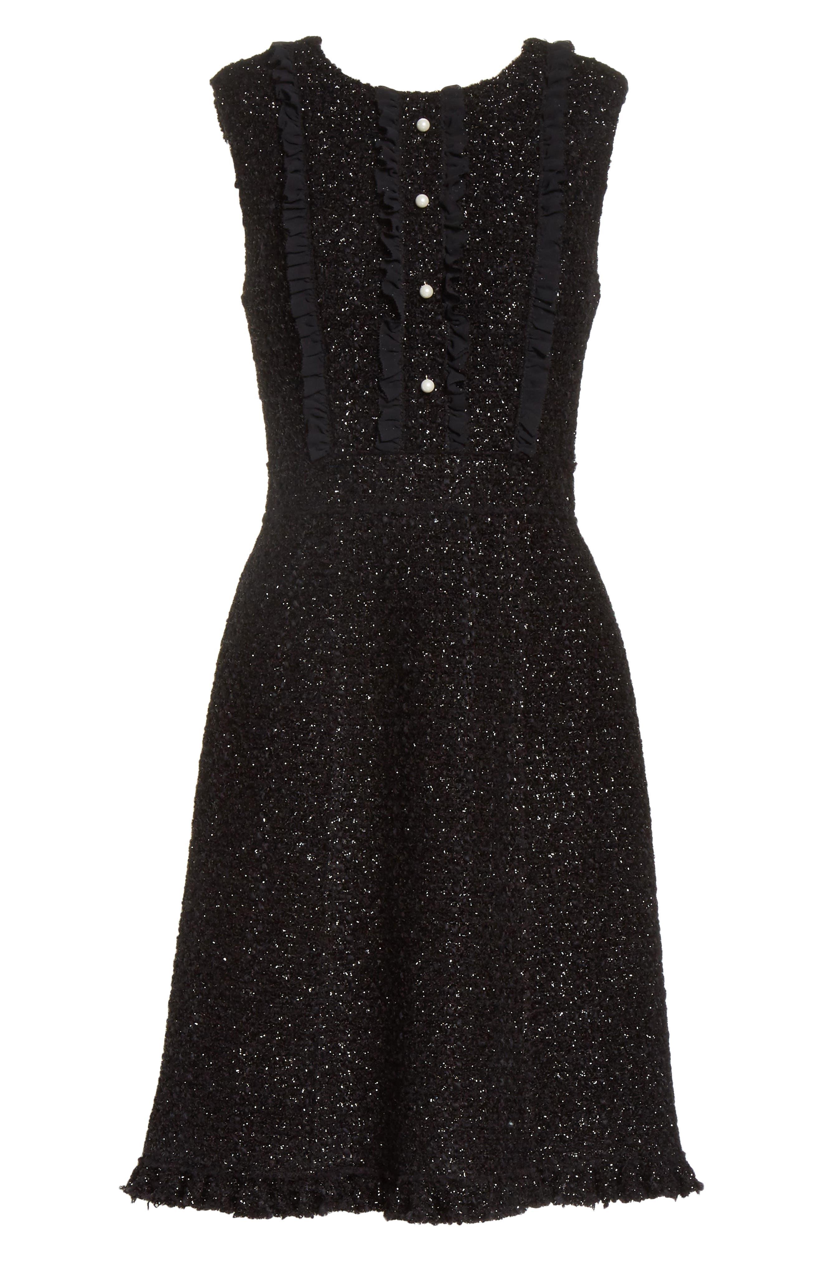 sparkle tweed dress,                             Alternate thumbnail 6, color,                             001