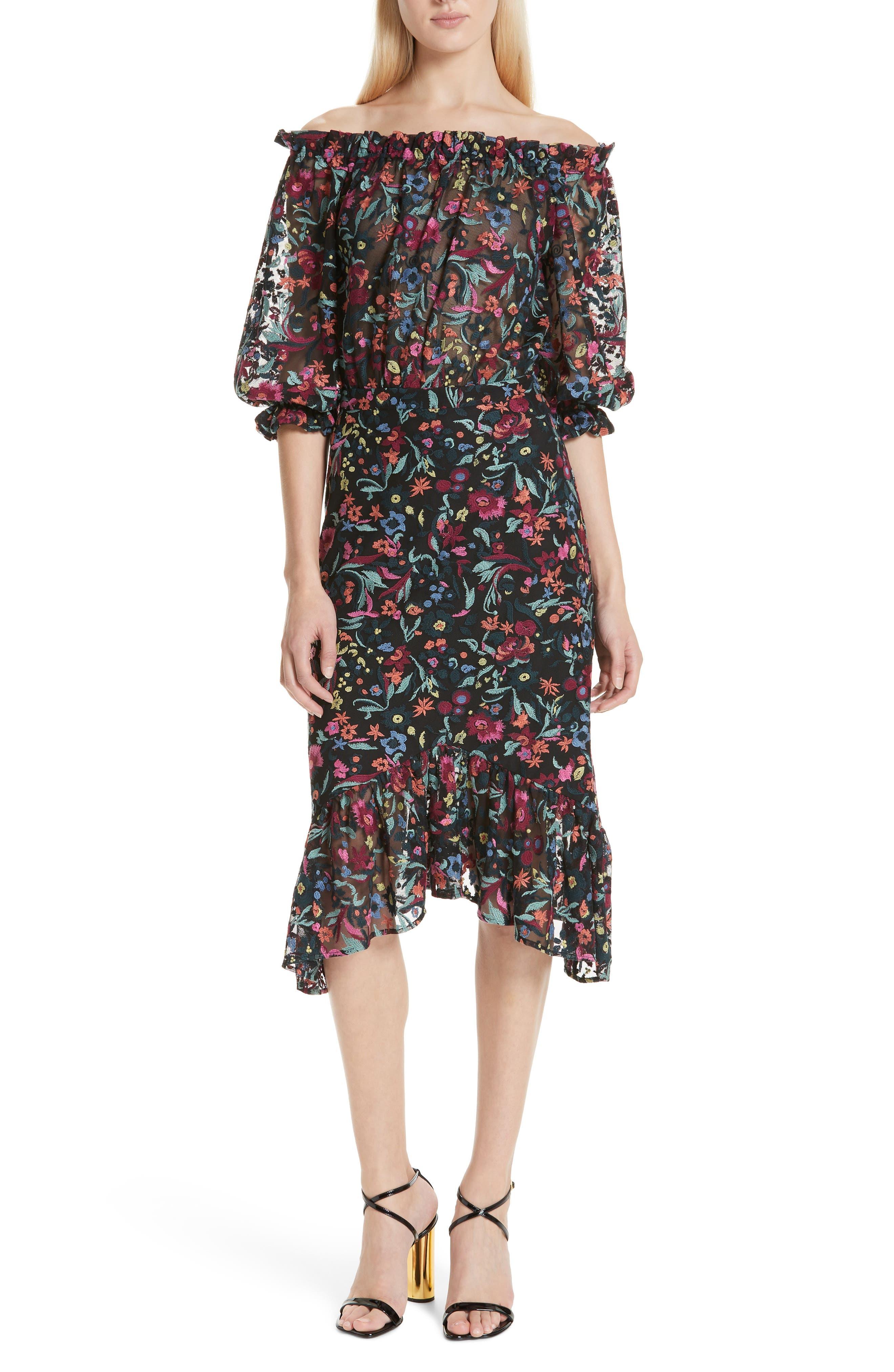 Grace Floral Embroidered Off the Shoulder Tulle Dress,                         Main,                         color, BOUQUET NOIR