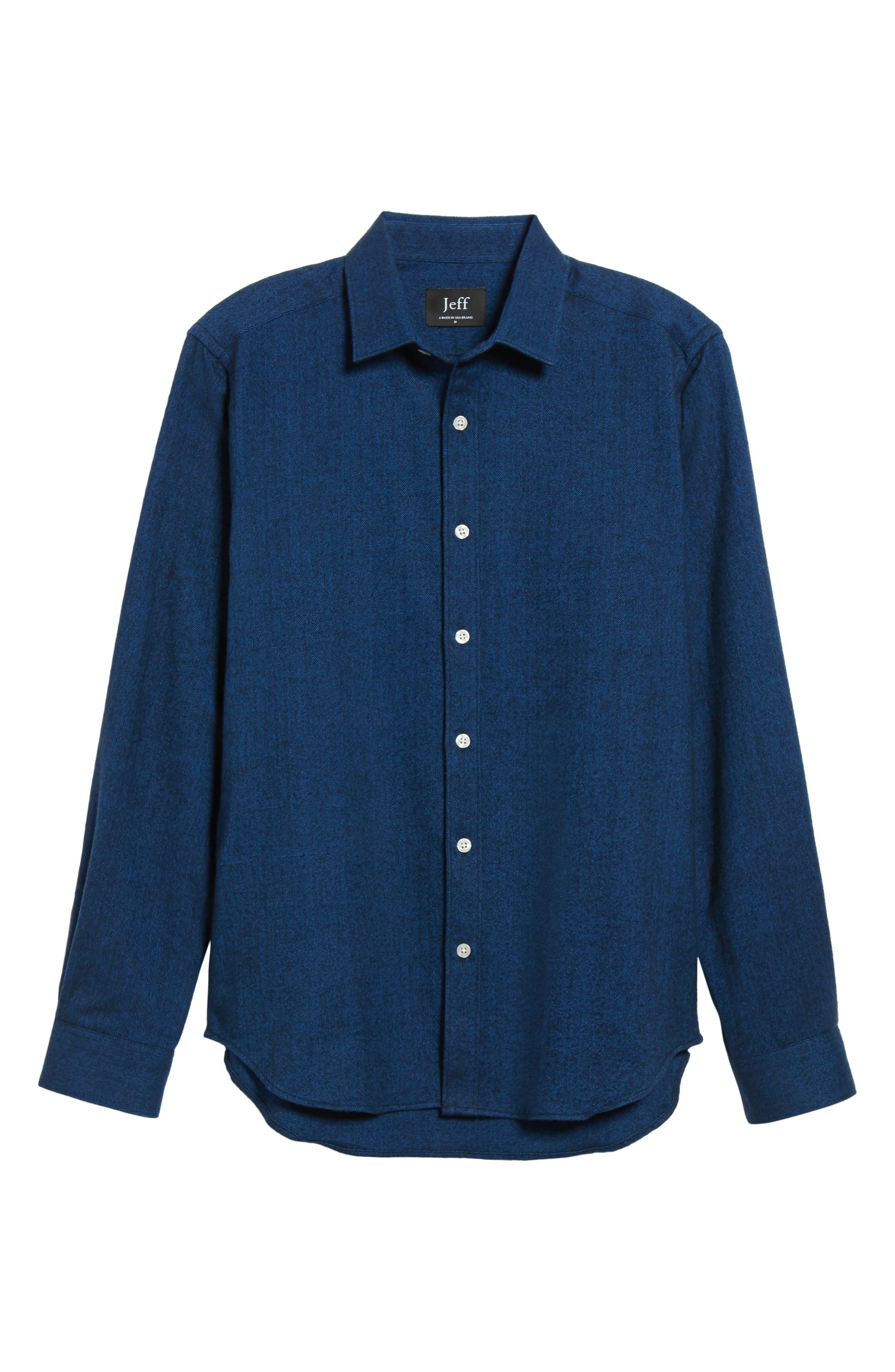 Grafton Slim Fit Herringbone Sport Shirt,                             Alternate thumbnail 6, color,                             410