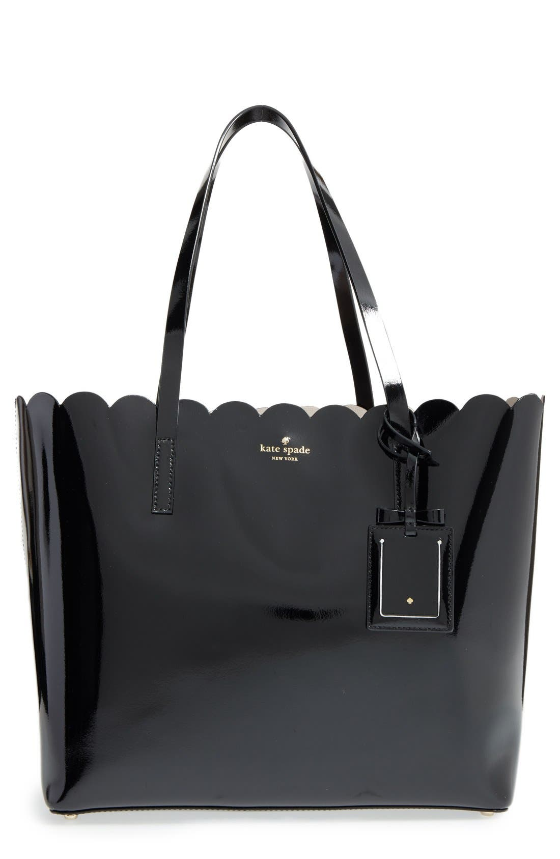 'lily avenue patent - carrigan' leather tote, Main, color, 005