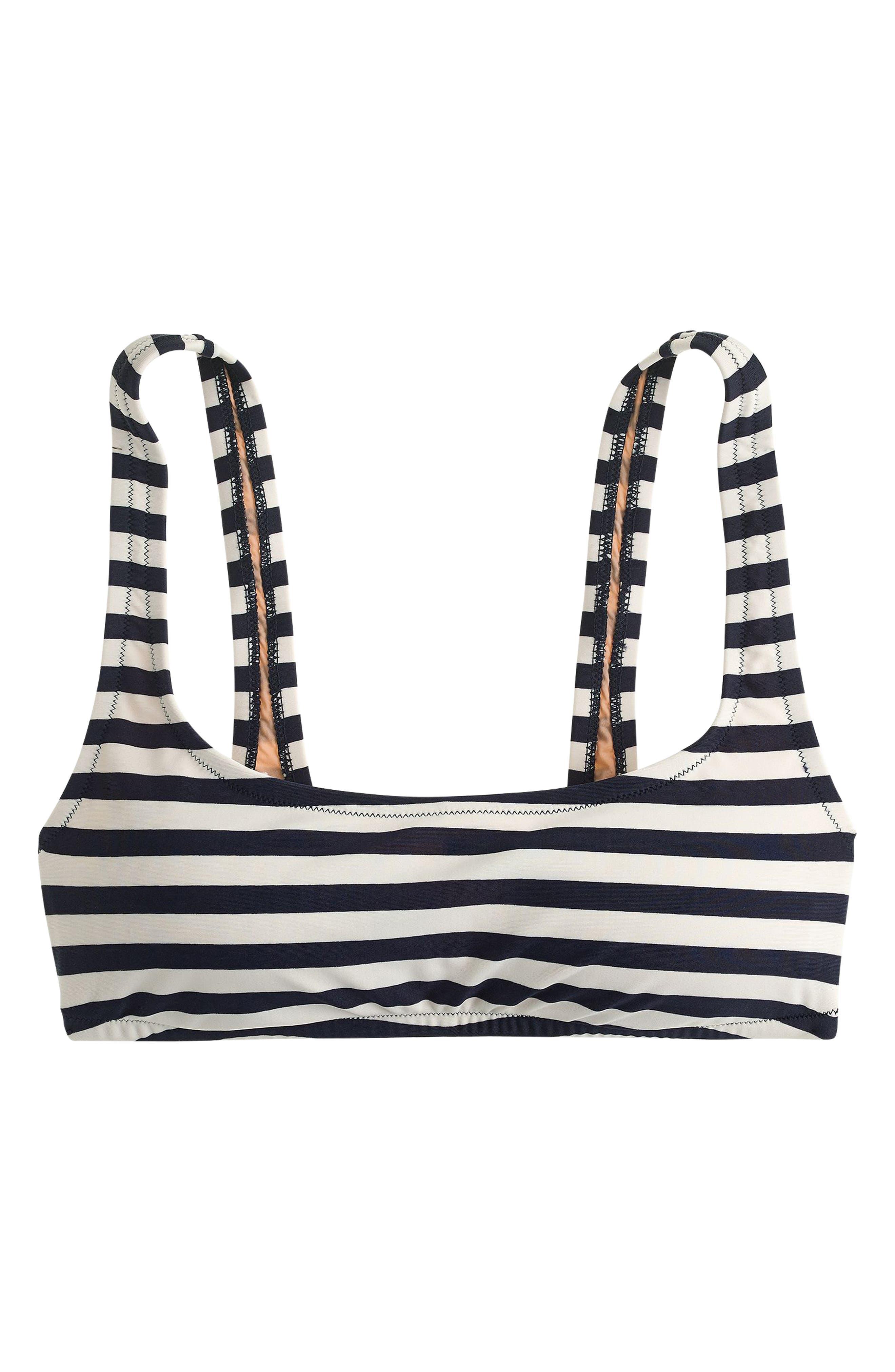 Stripe Scoop Bikini Top,                             Alternate thumbnail 6, color,                             NAVY IVORY