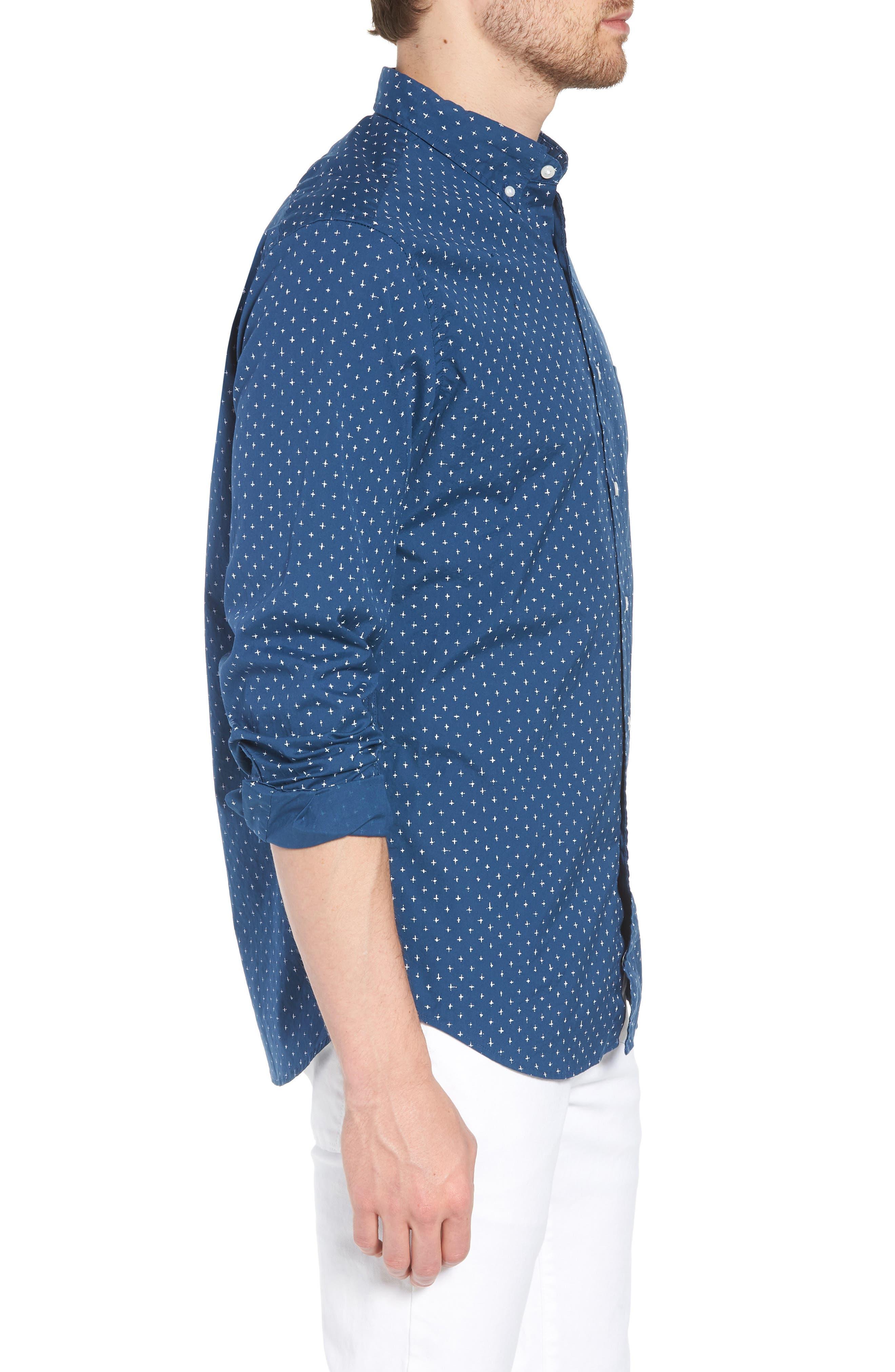 Slim Fit Stretch Secret Wash Crosshatch Print Sport Shirt,                             Alternate thumbnail 3, color,