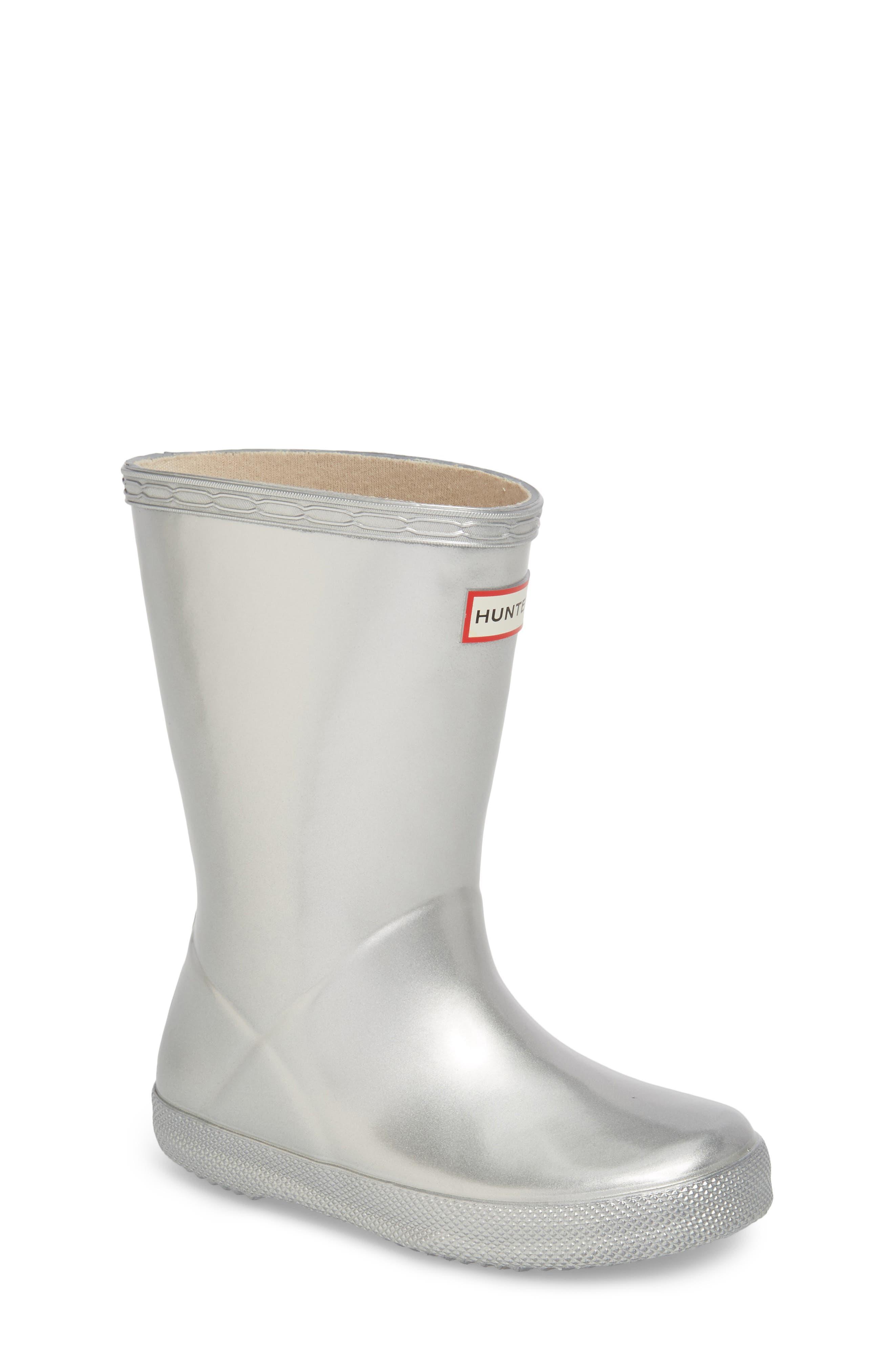 HUNTER,                             First Classic Metallic Waterproof Rain Boot,                             Main thumbnail 1, color,                             SILVER