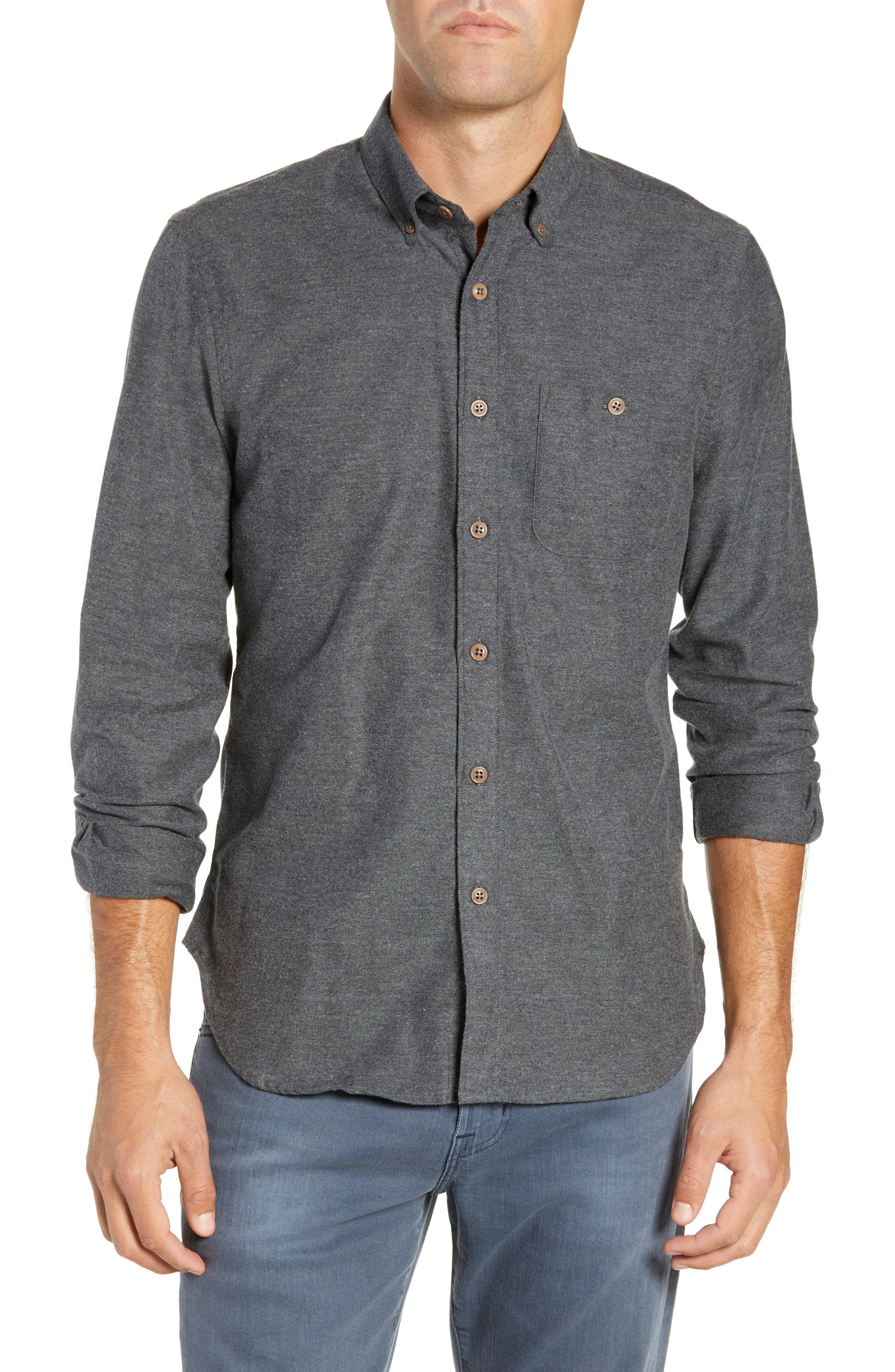 Brushed Cotton & Cashmere Twill Sport Shirt,                         Main,                         color, 020
