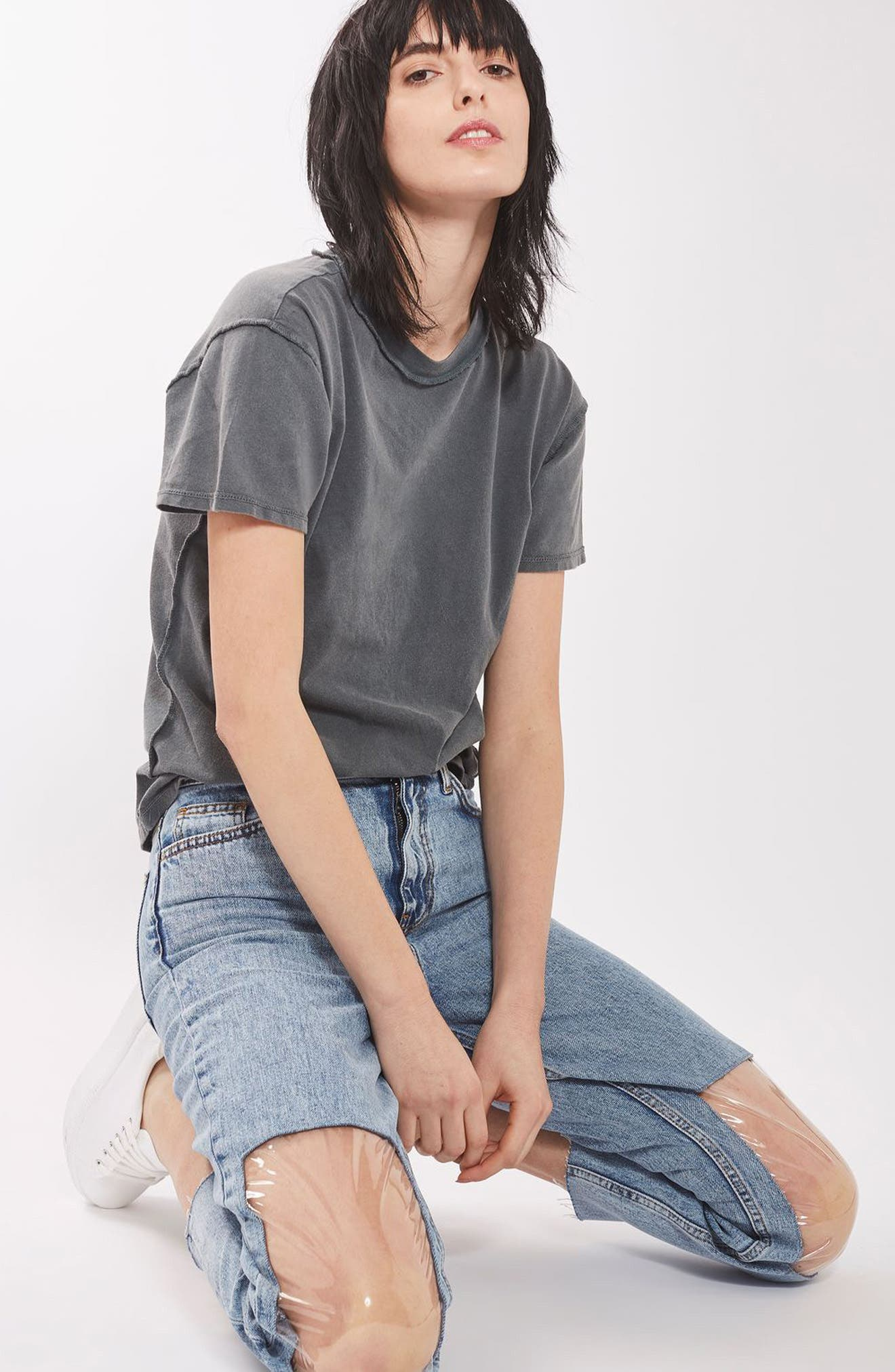 Clear Knee Mom Jeans,                             Alternate thumbnail 4, color,                             400