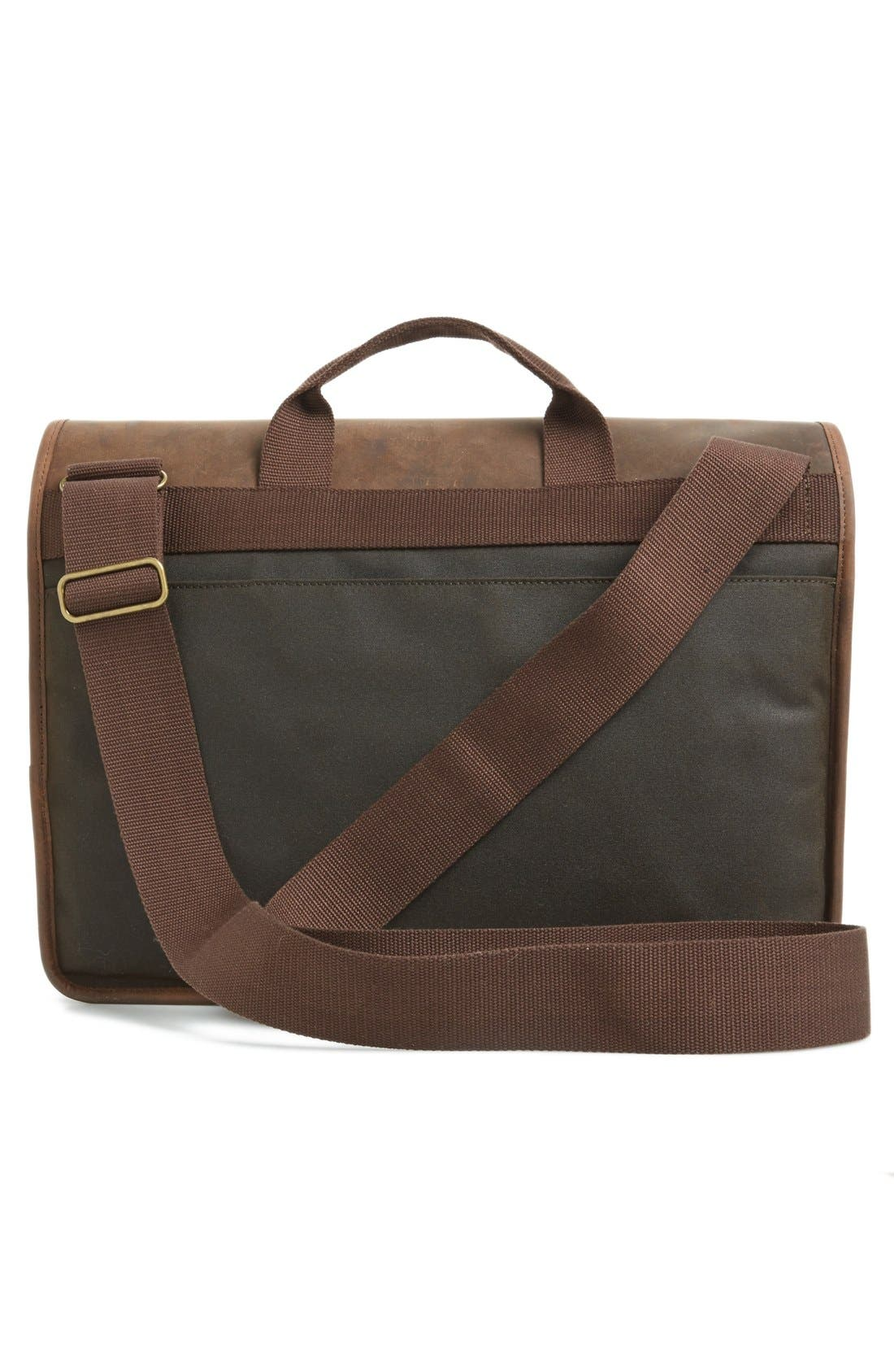 BARBOUR,                             Waxed Canvas & Leather Messenger Bag,                             Alternate thumbnail 3, color,                             340