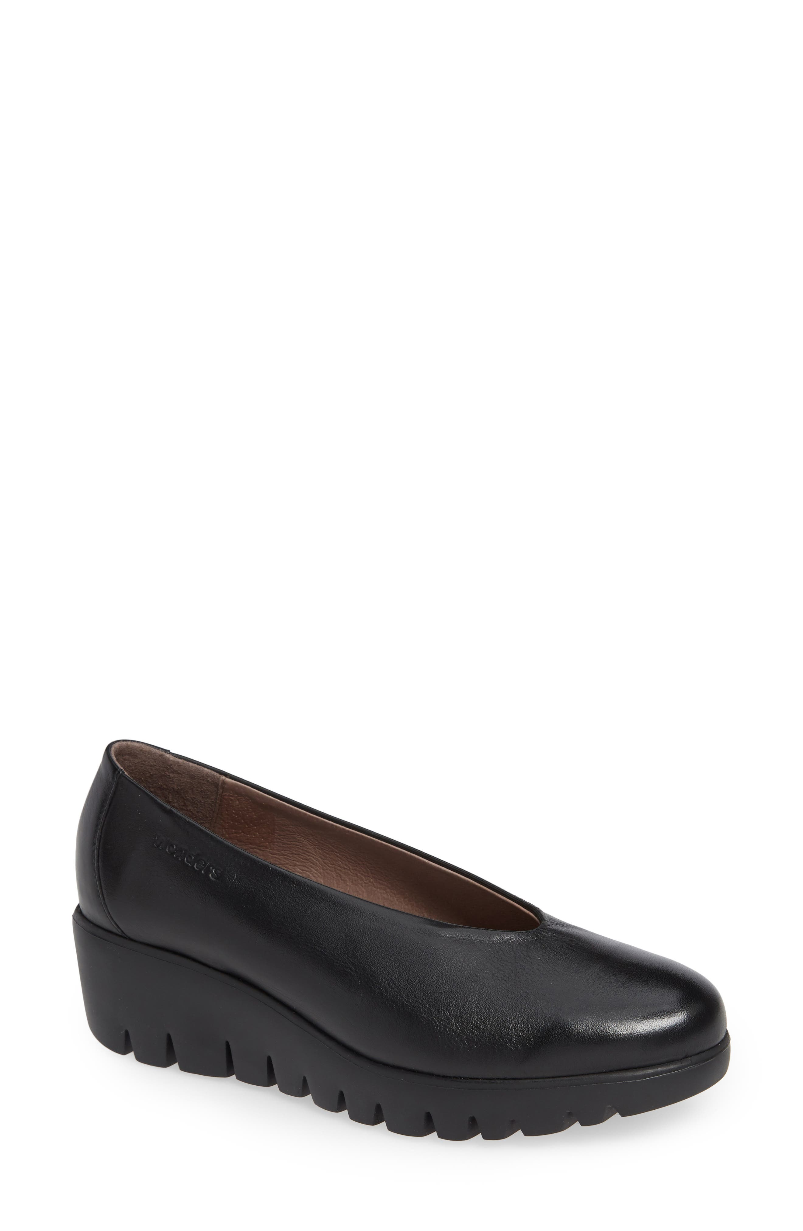 Extralite Wedge Pump,                         Main,                         color, BLACK LEATHER
