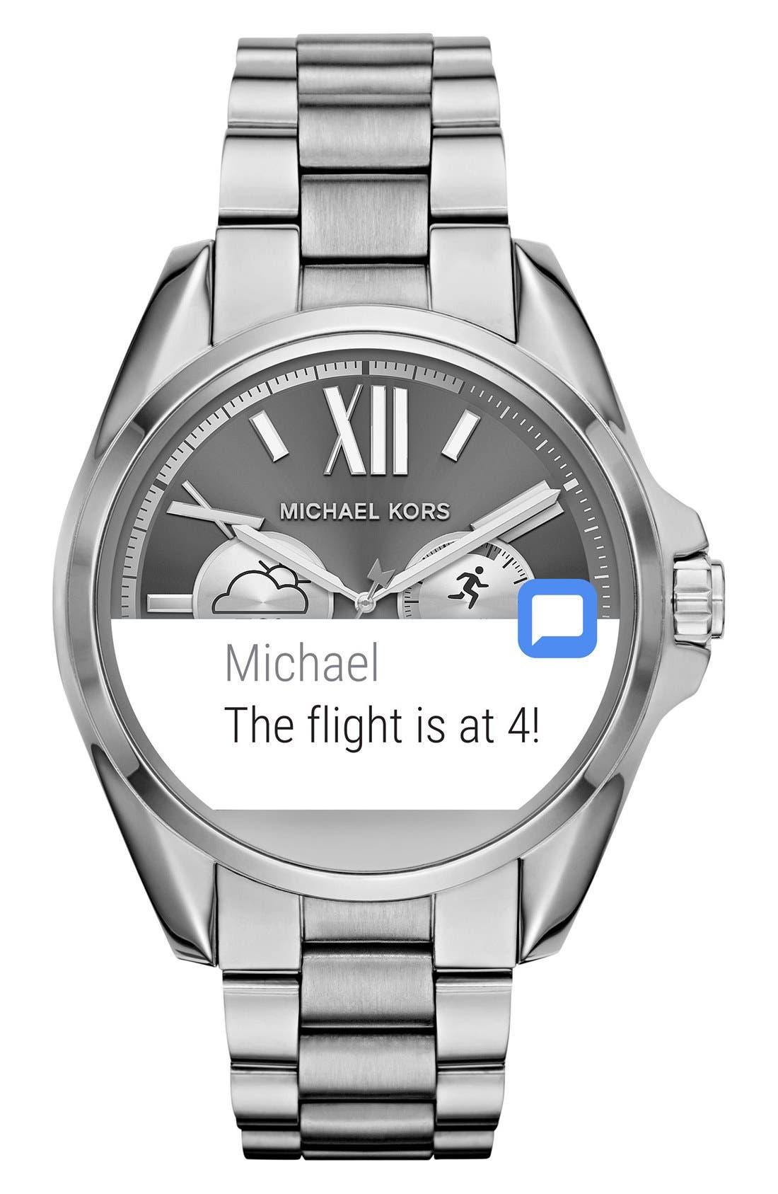 MICHAEL Michael Kors Bradshaw Access Bracelet Smart Watch, 45mm,                             Alternate thumbnail 3, color,                             SILVER/ SILVER