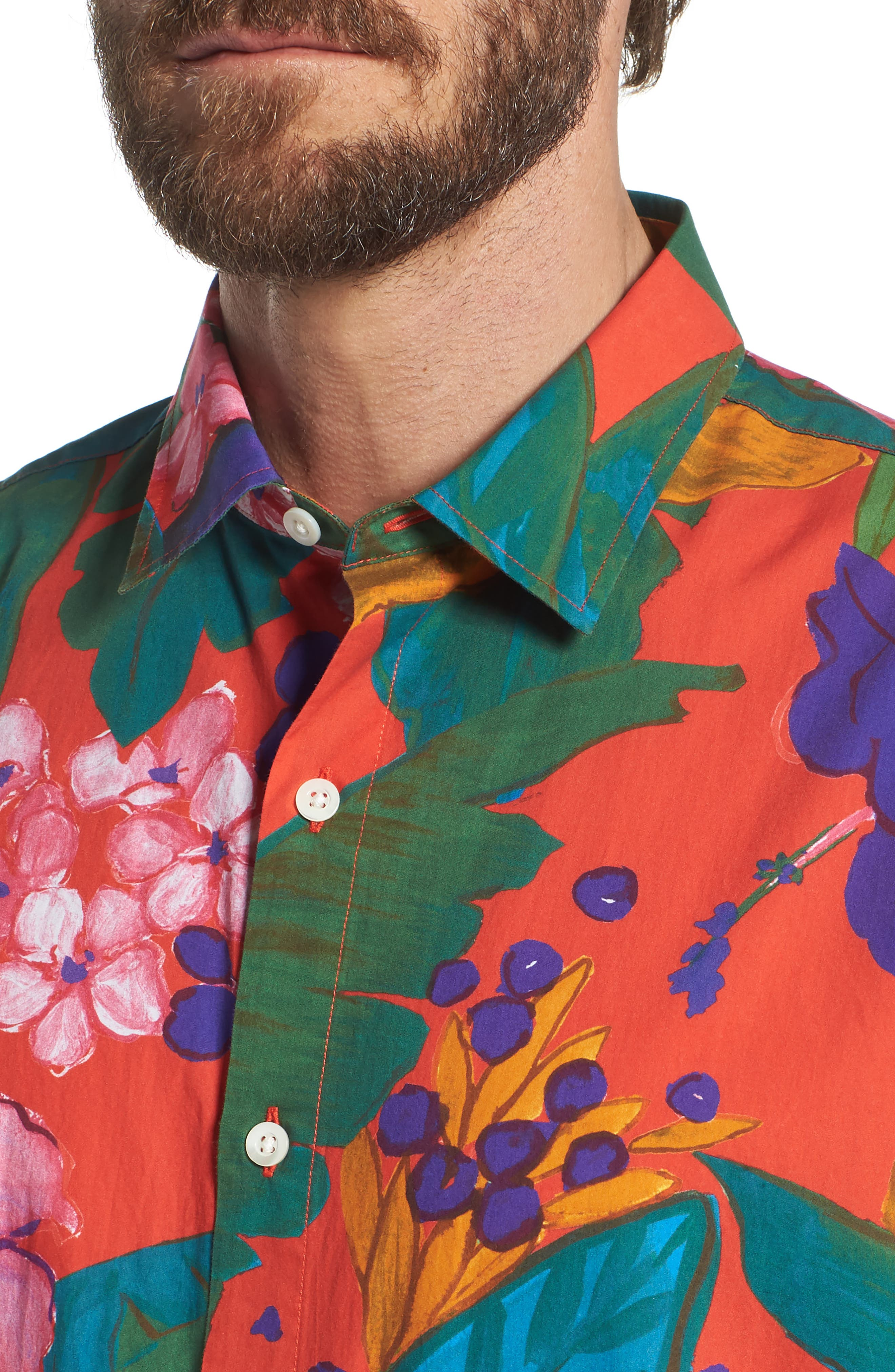 Premium Slim Fit Print Sport Shirt,                             Alternate thumbnail 4, color,                             650
