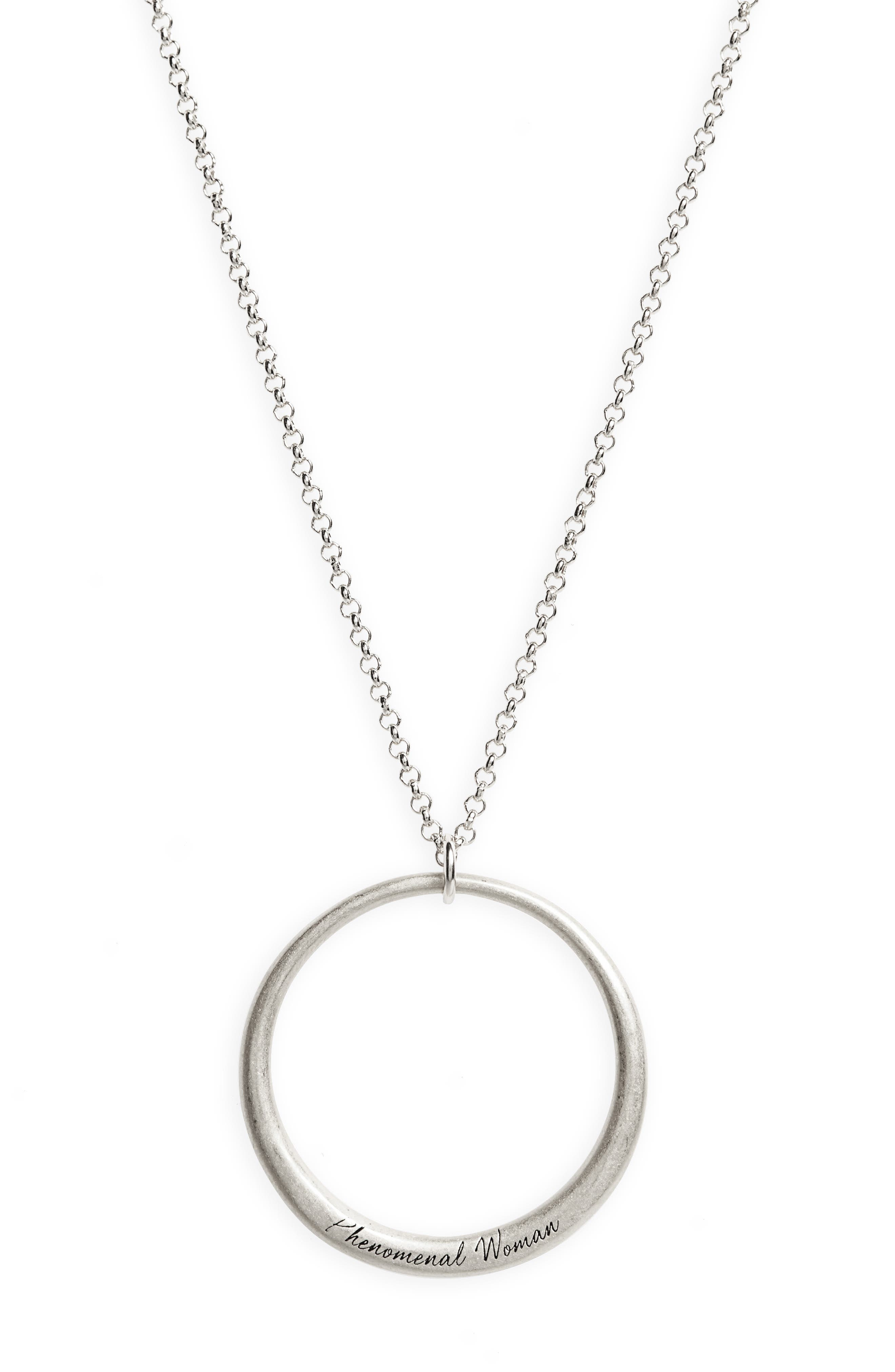 Legacy Collection - Phenomenal Women Open Circle Pendant Necklace,                             Alternate thumbnail 3, color,                             040
