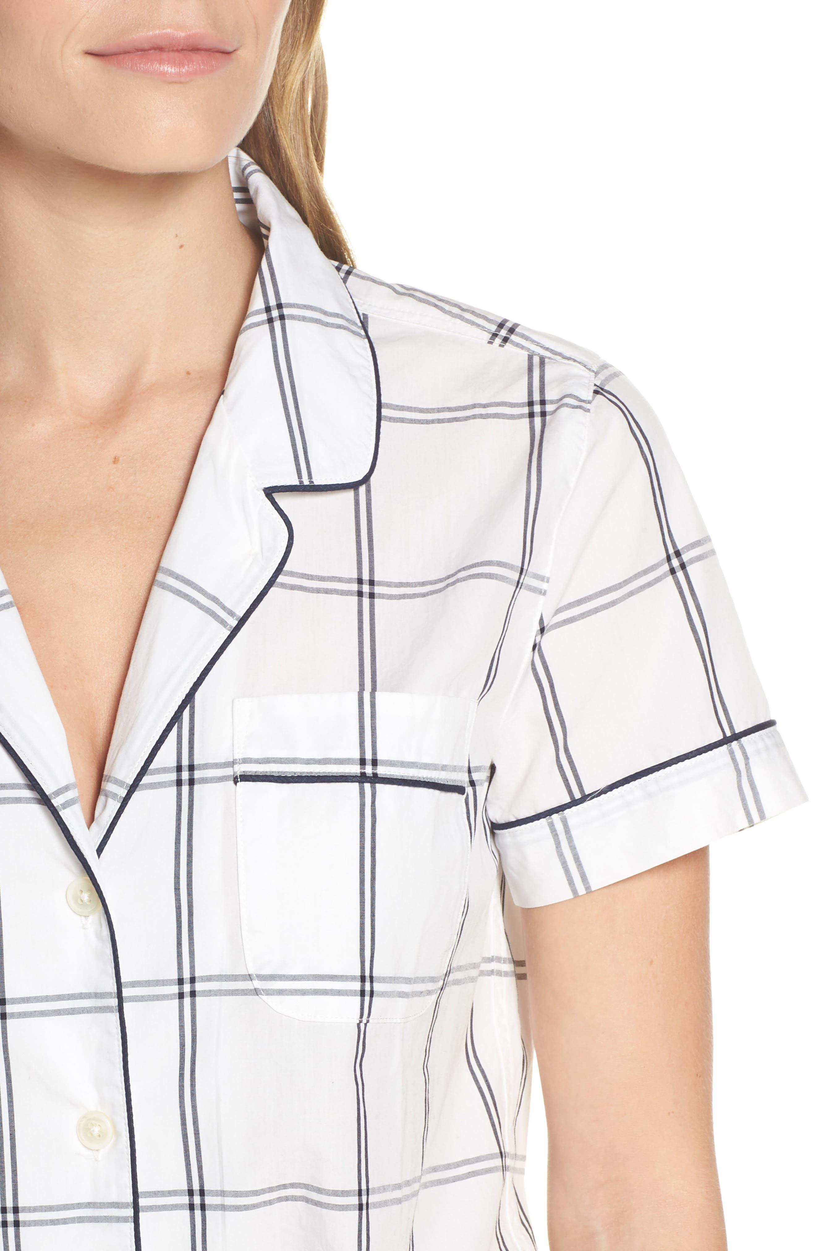 Windowpane Plaid Short Pajamas,                             Alternate thumbnail 4, color,                             IVORY NAVY