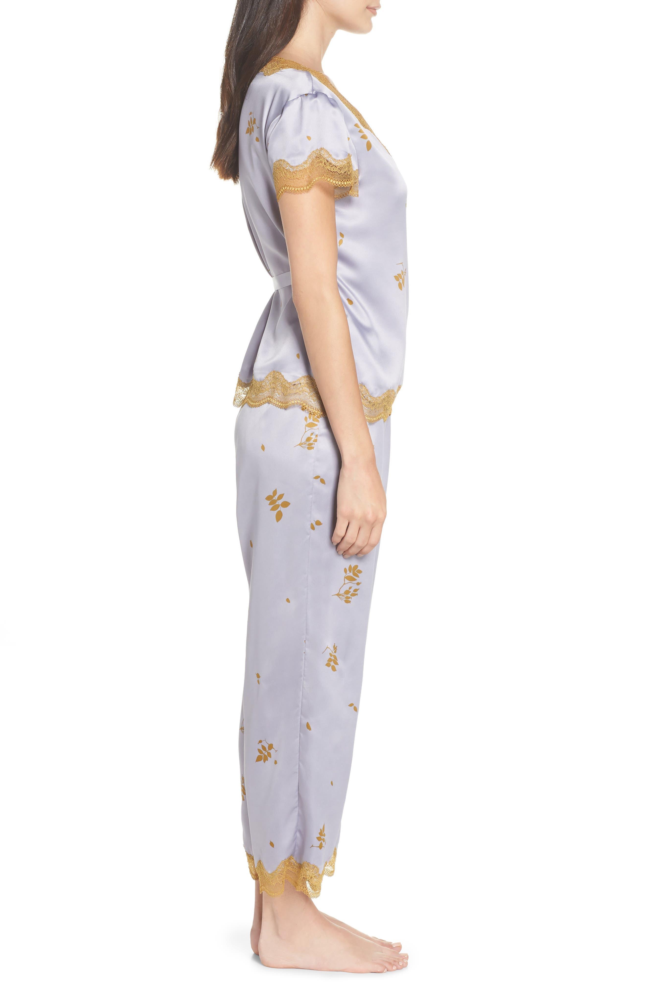 Colette Pajamas,                             Alternate thumbnail 3, color,                             GREY LILAC FALLING LEAVES