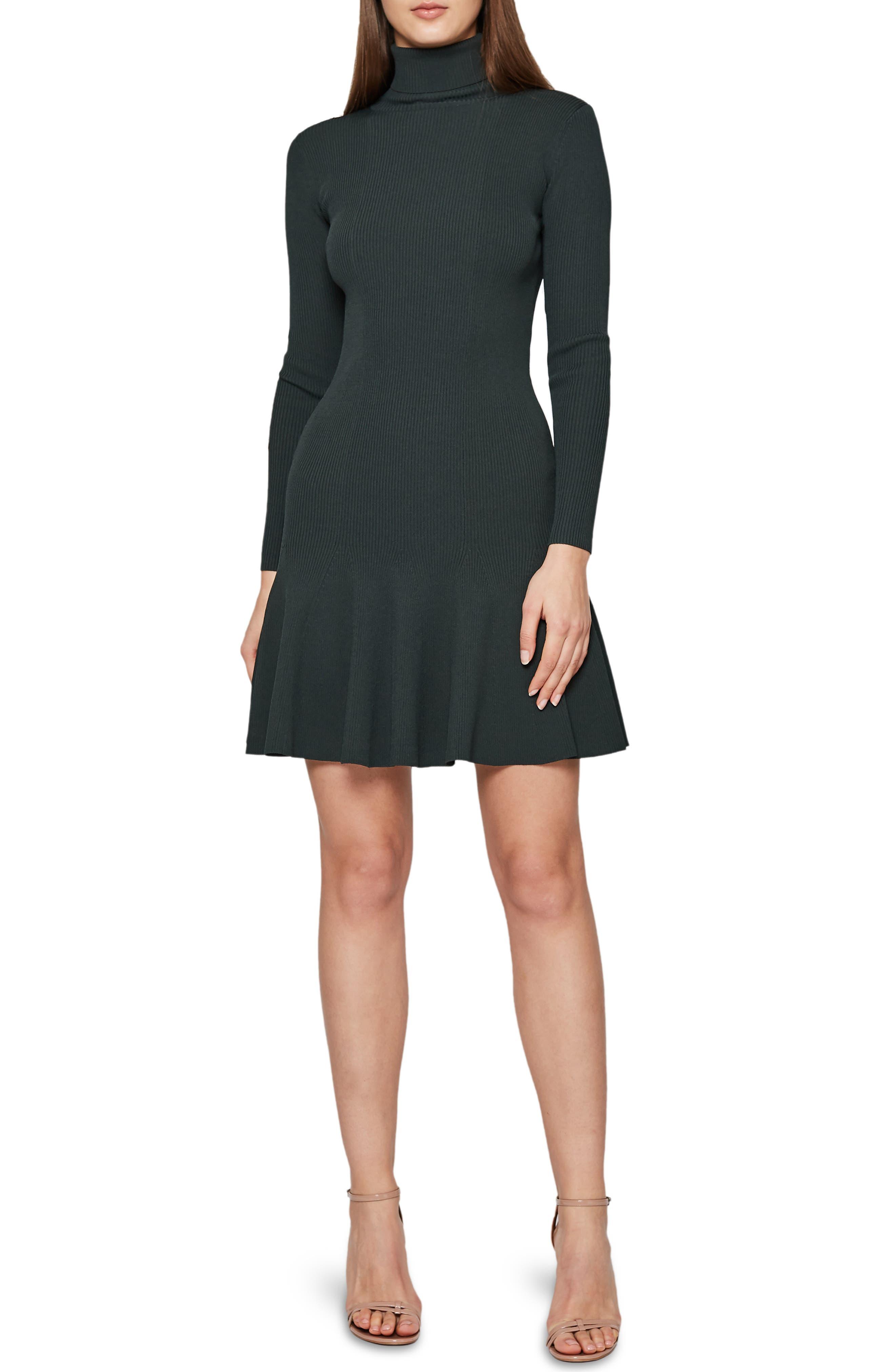 REISS Mimi Turtleneck Sweater Dress, Main, color, GREEN