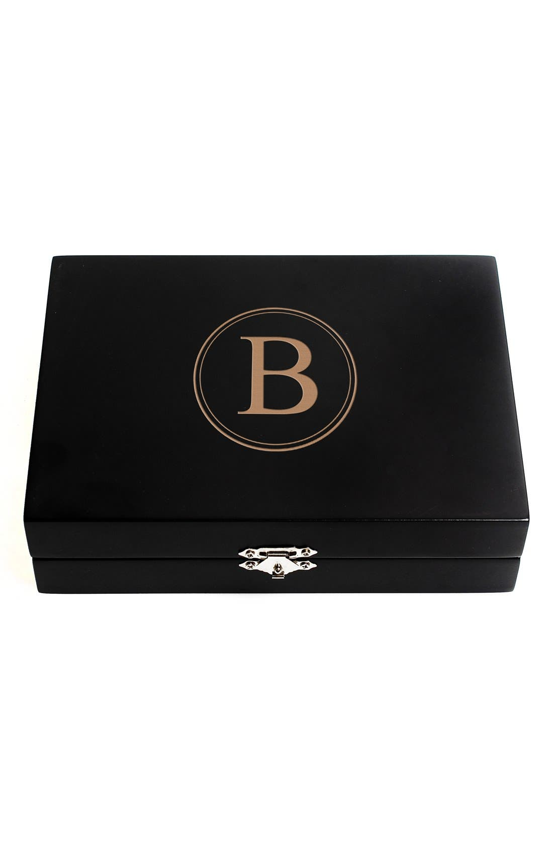 Monogram Wooden Jewelry Box,                             Main thumbnail 4, color,