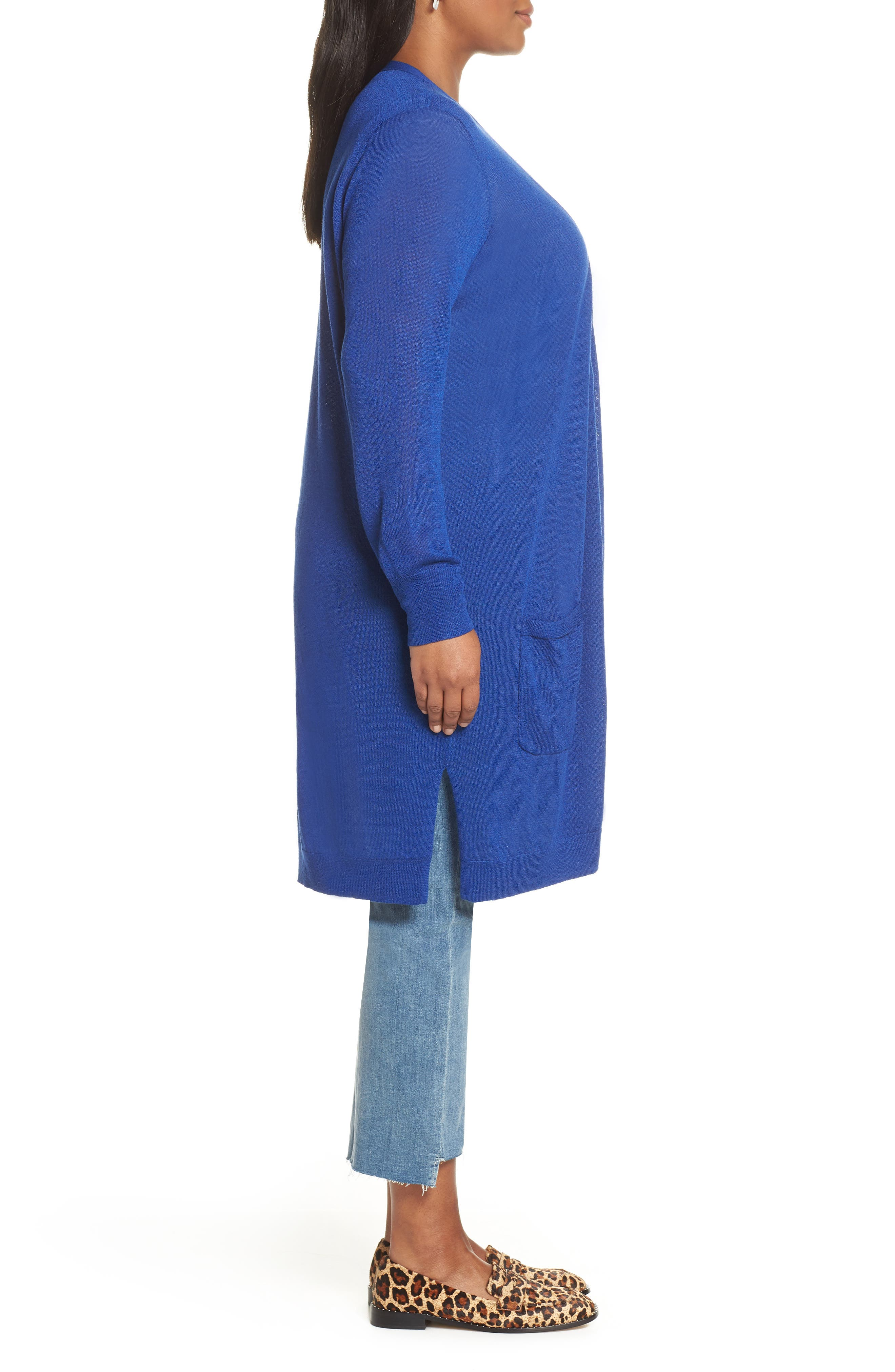 Long Cardigan,                             Alternate thumbnail 3, color,                             BLUE MAZARINE