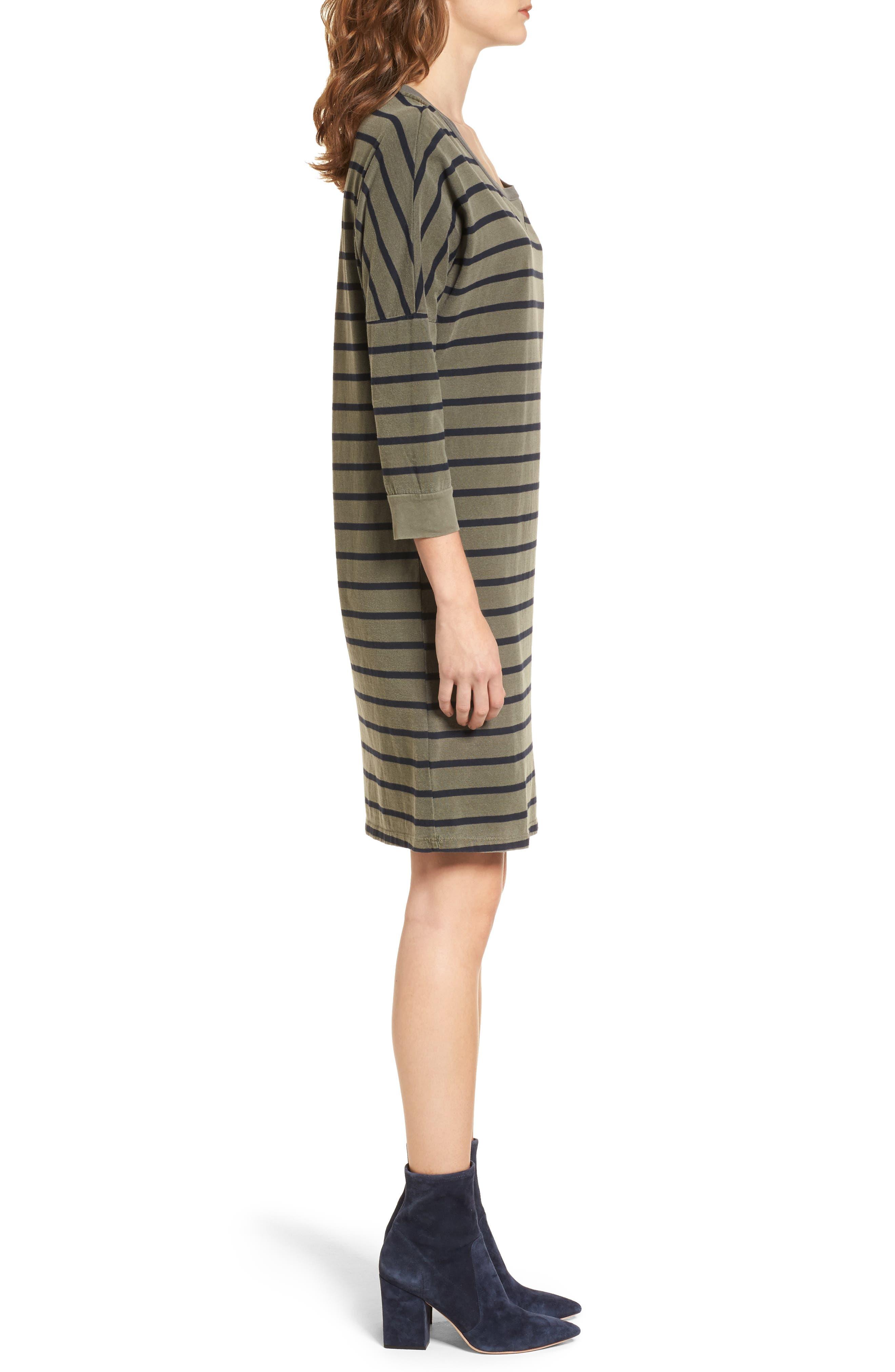 Stripe T-Shirt Dress,                             Alternate thumbnail 3, color,                             300