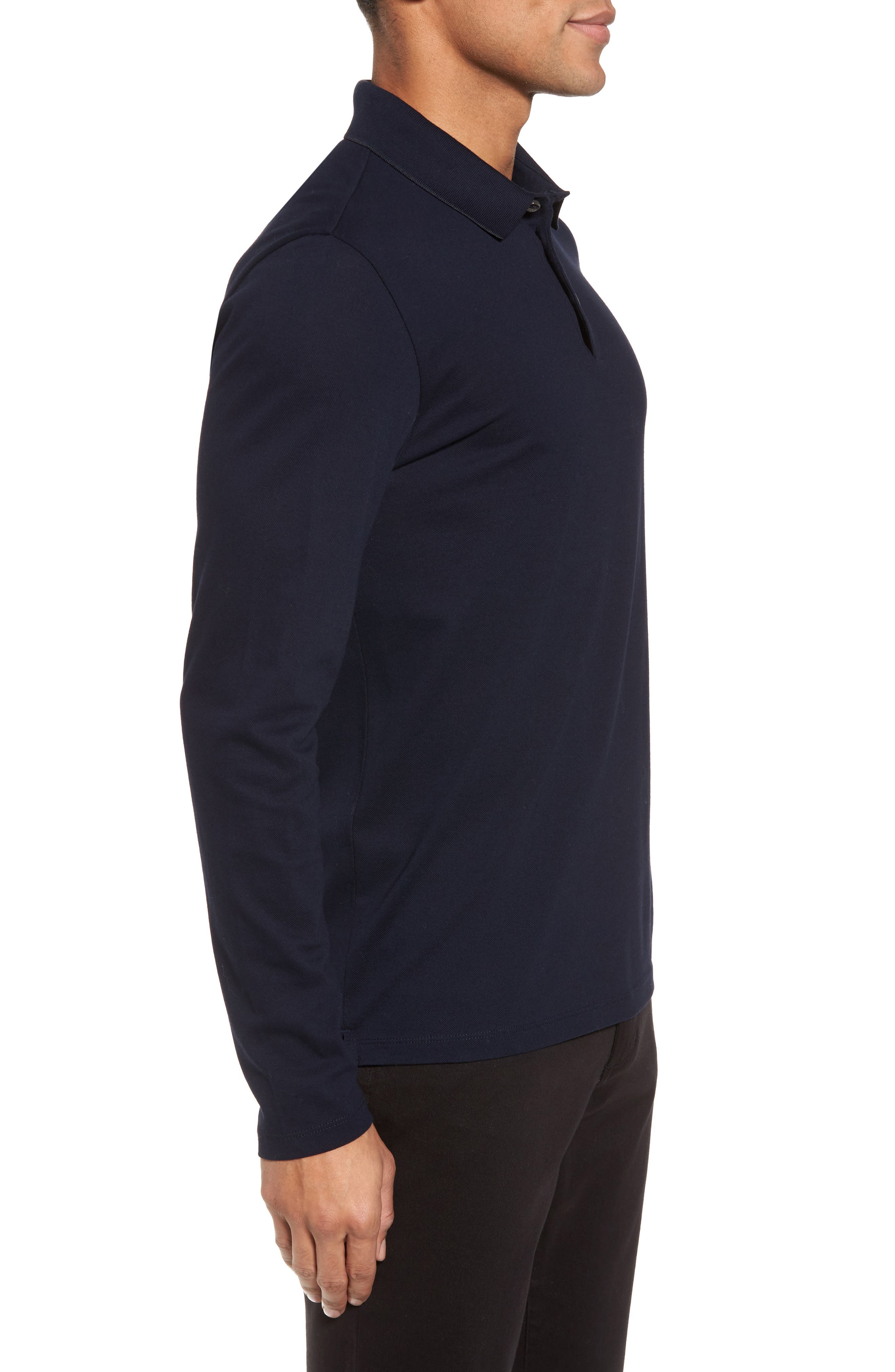 Pleins Slim Fit Long Sleeve Polo,                             Alternate thumbnail 3, color,                             410