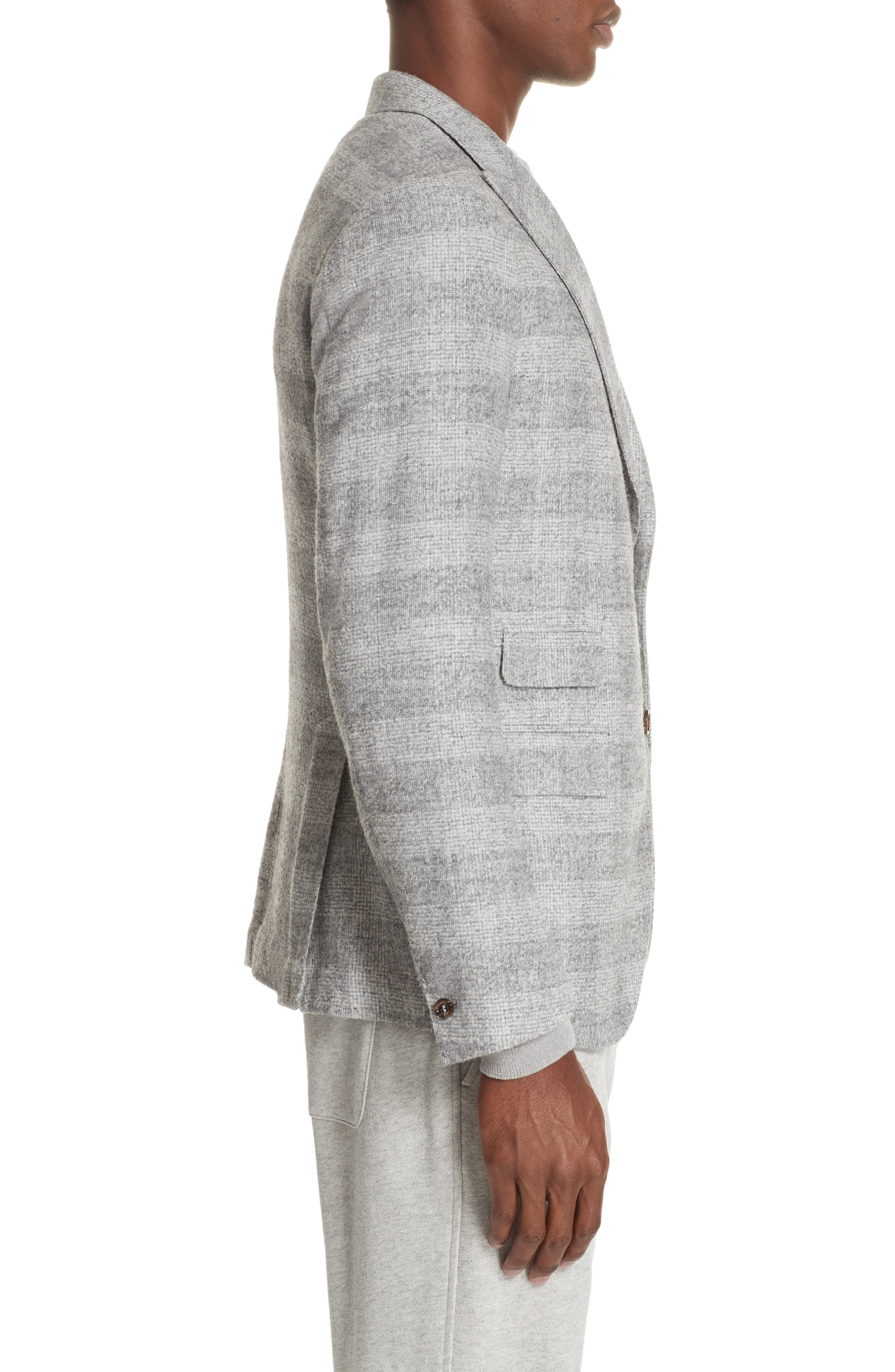 Trim Fit Houndstooth Alpaca Wool Blend Sport Coat,                             Alternate thumbnail 3, color,                             GREY