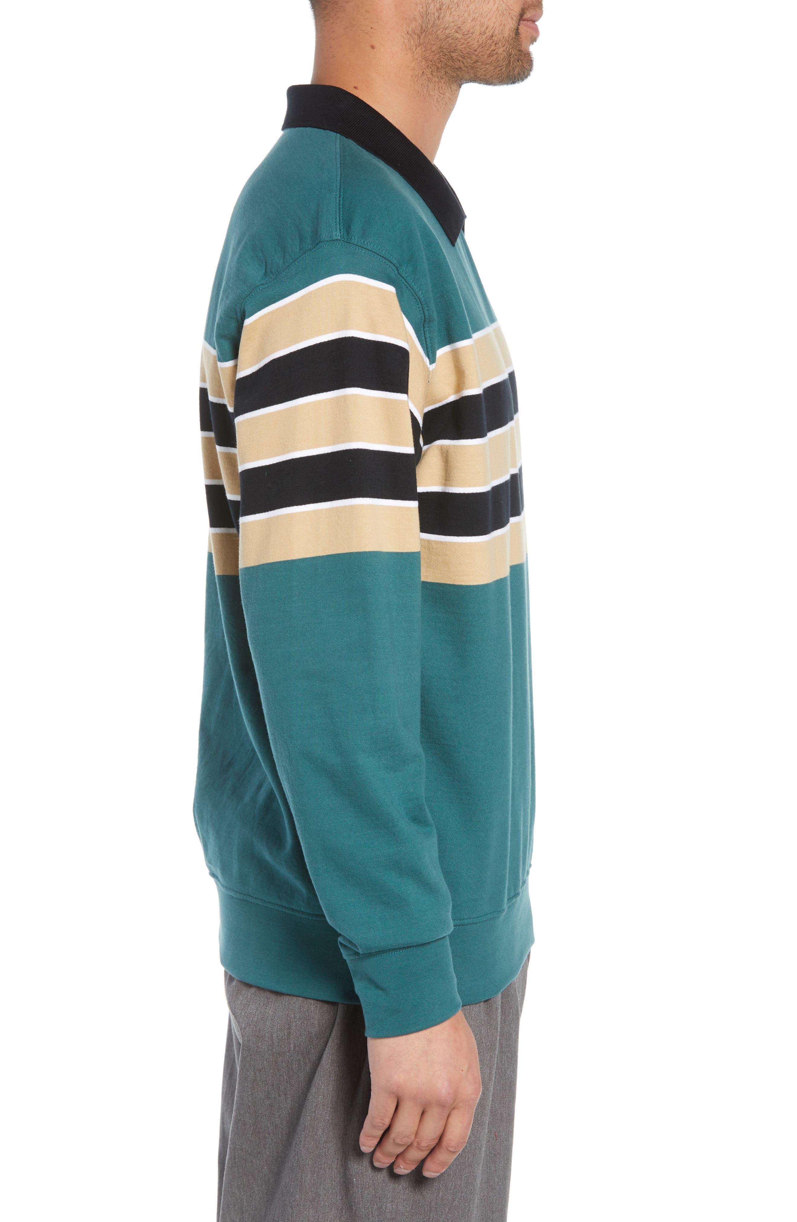 Cupid Striped Polo Collar Sweatshirt,                             Alternate thumbnail 3, color,                             DARK TEAL MULTI