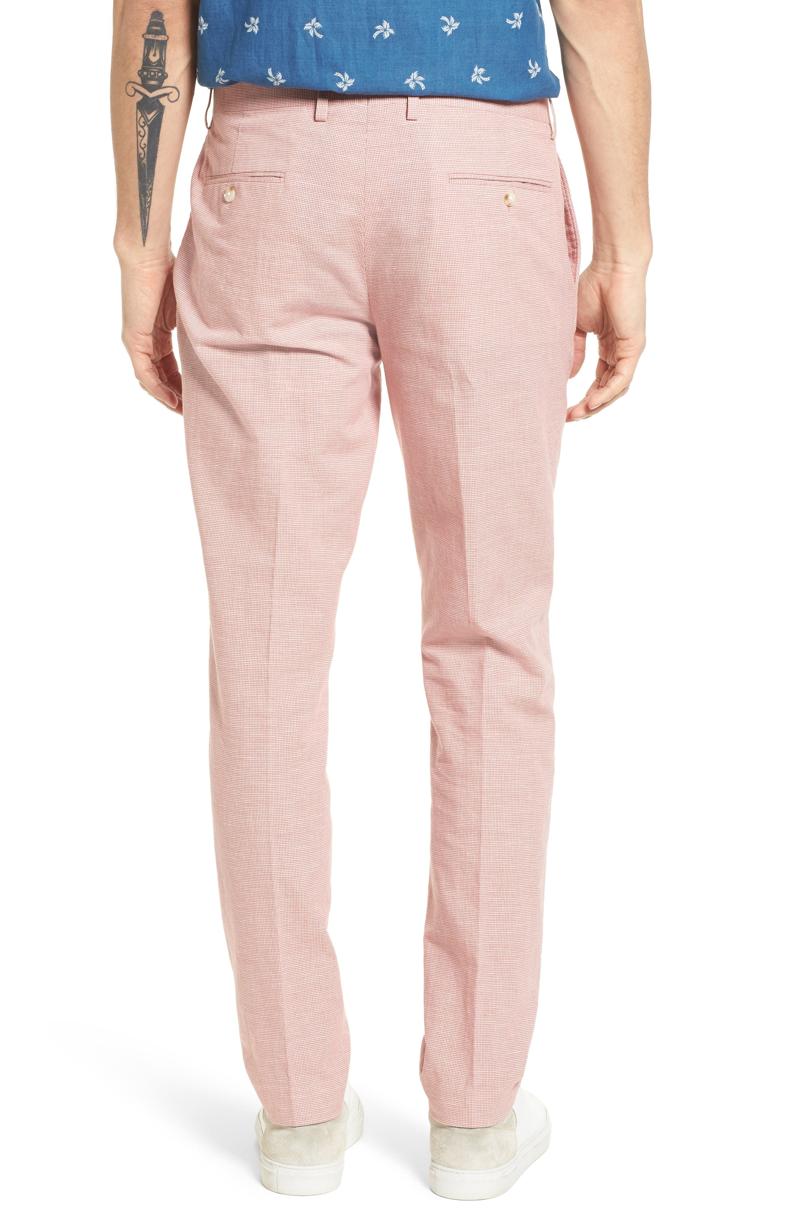 Ludlow Trim Fit Houndstooth Cotton & Linen Suit Pants,                             Alternate thumbnail 4, color,
