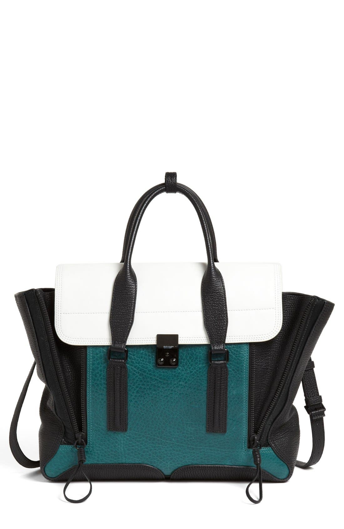'Pashli' Colorblock Leather Crossbody Satchel,                         Main,                         color, 445